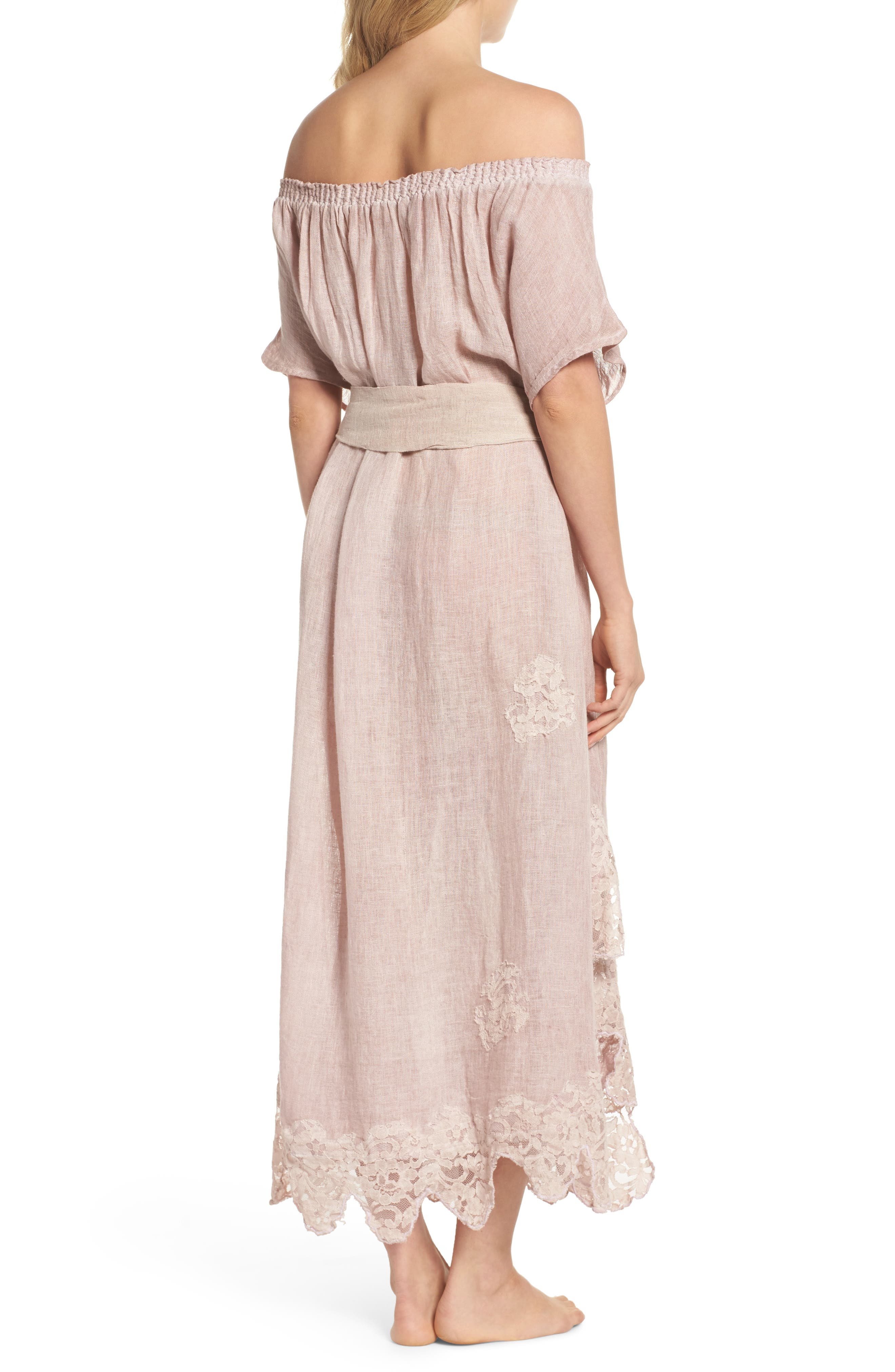 Daisy Linen Cover-Up Dress,                             Alternate thumbnail 2, color,                             Dusty Pink