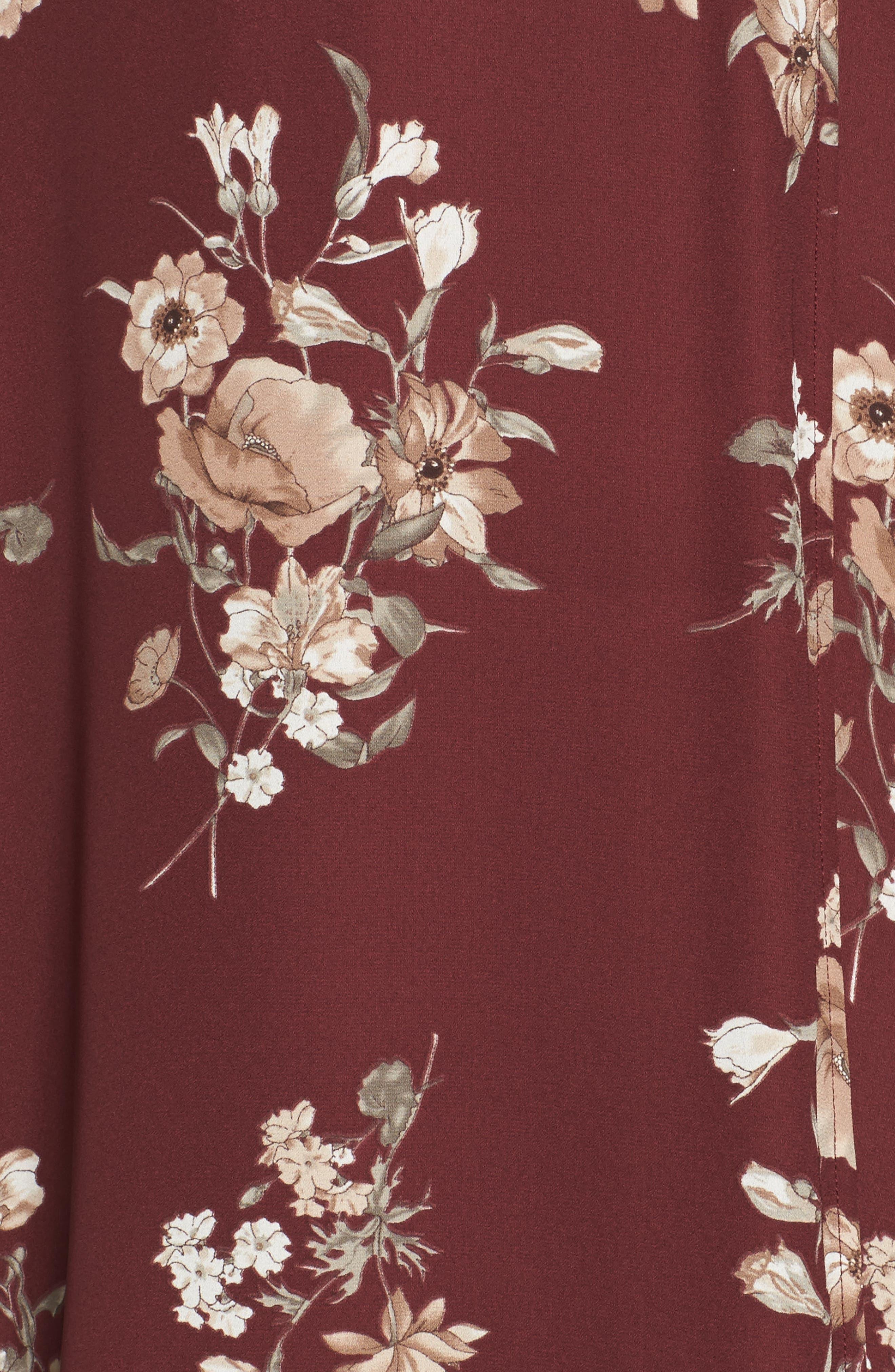 Elly Wrap Dress,                             Alternate thumbnail 5, color,                             Burgundy Floral