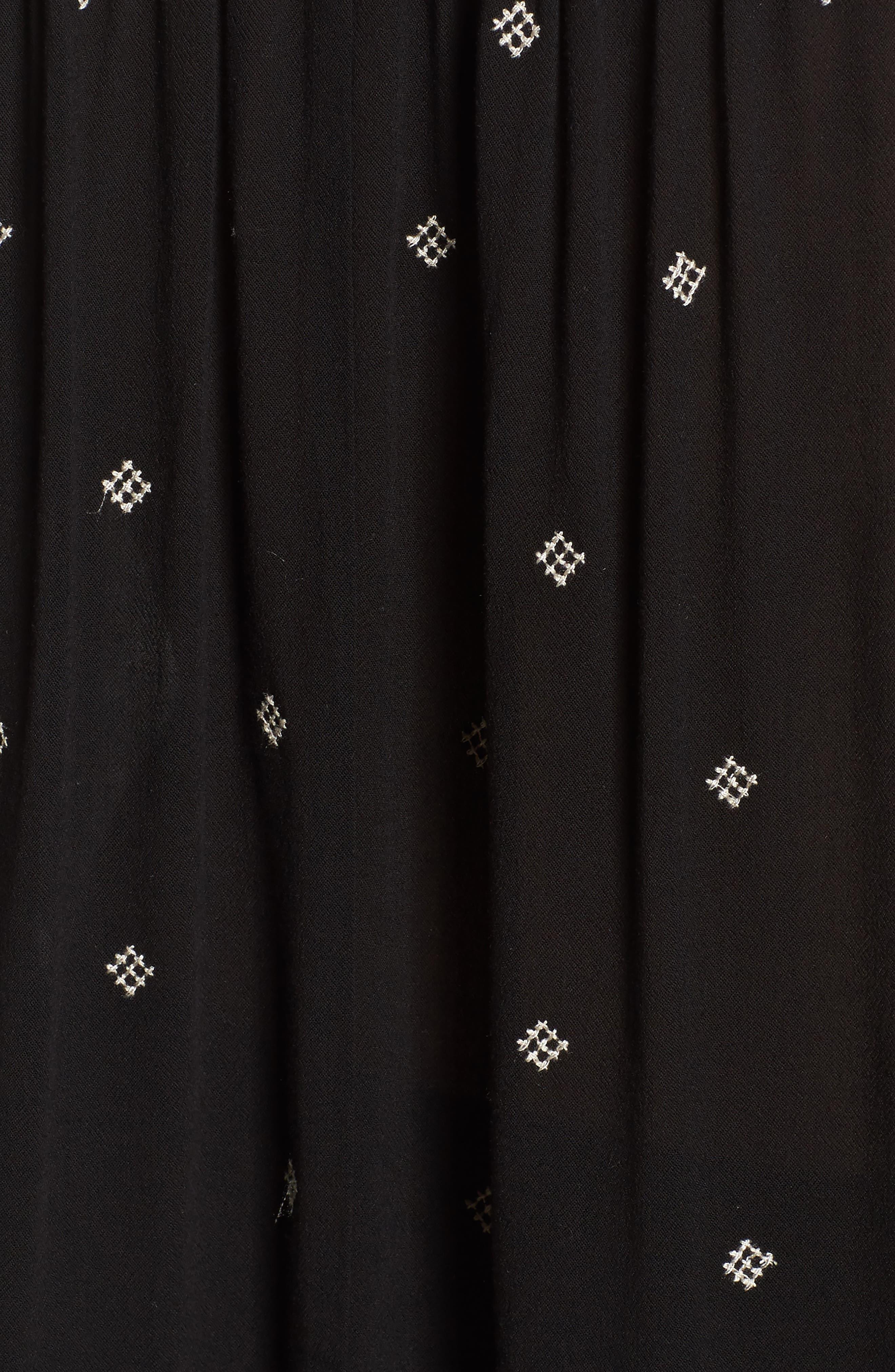 Split Neck Button Front Shirt,                             Alternate thumbnail 5, color,                             Black