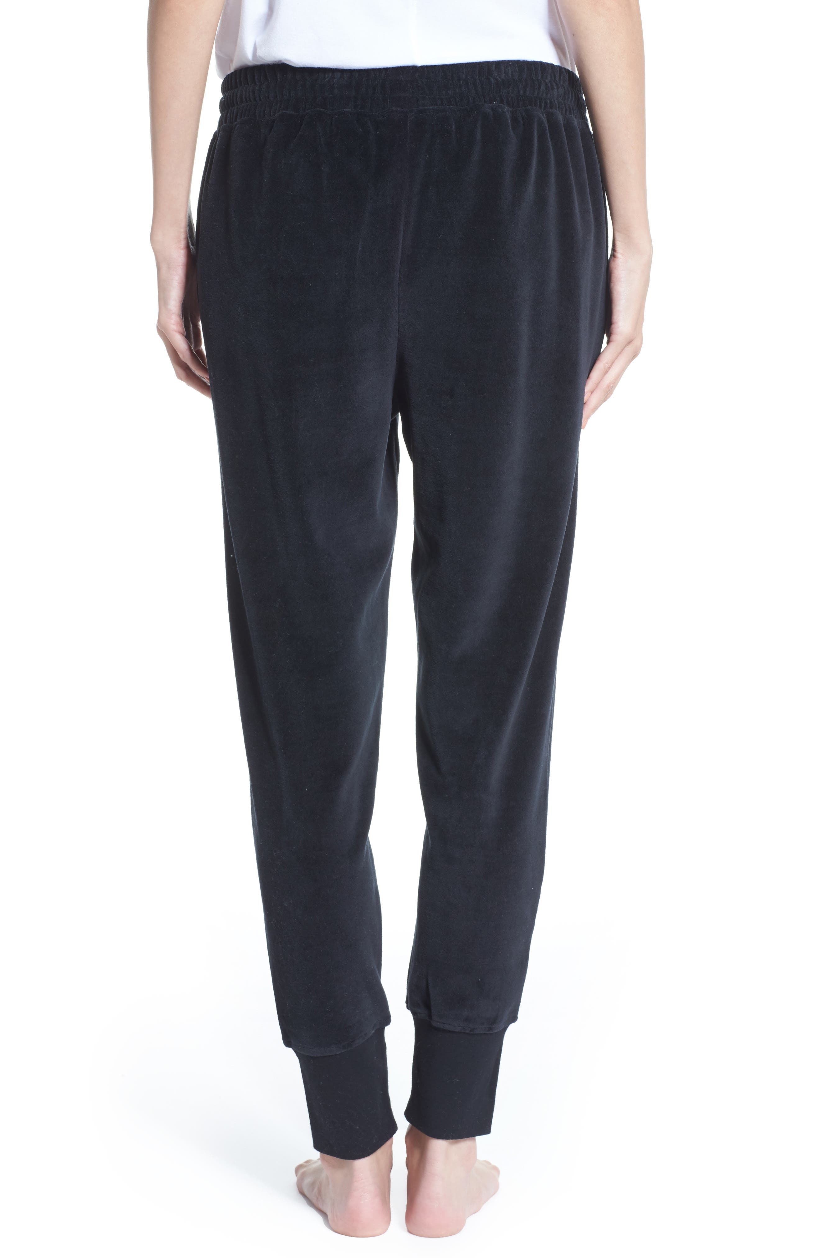 Blonde Embroidered Velour Jogger Pants,                             Alternate thumbnail 2, color,                             Black