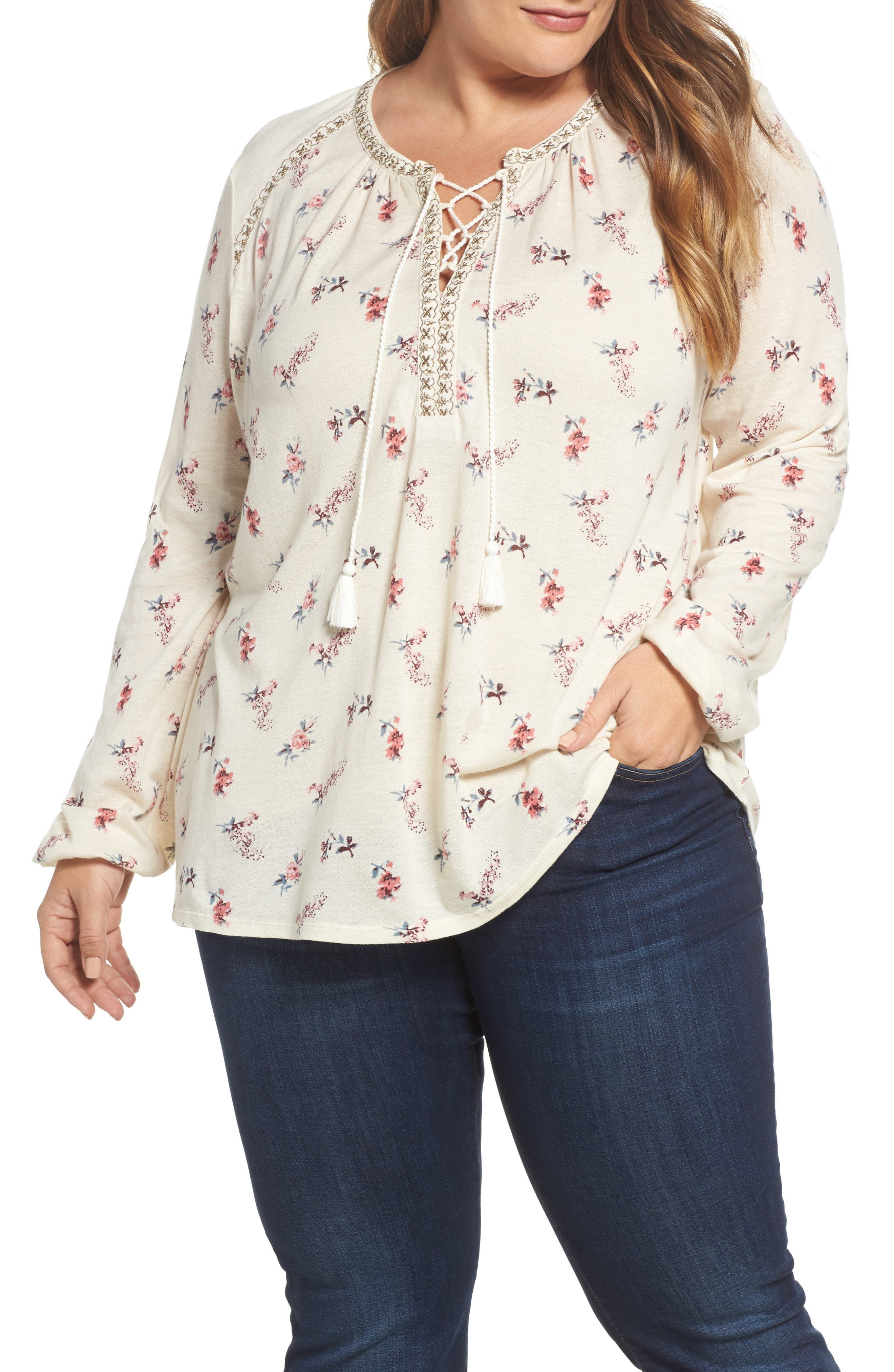 Lucky Brand Ditsy Lace-Up Peasant Top (Plus Size)