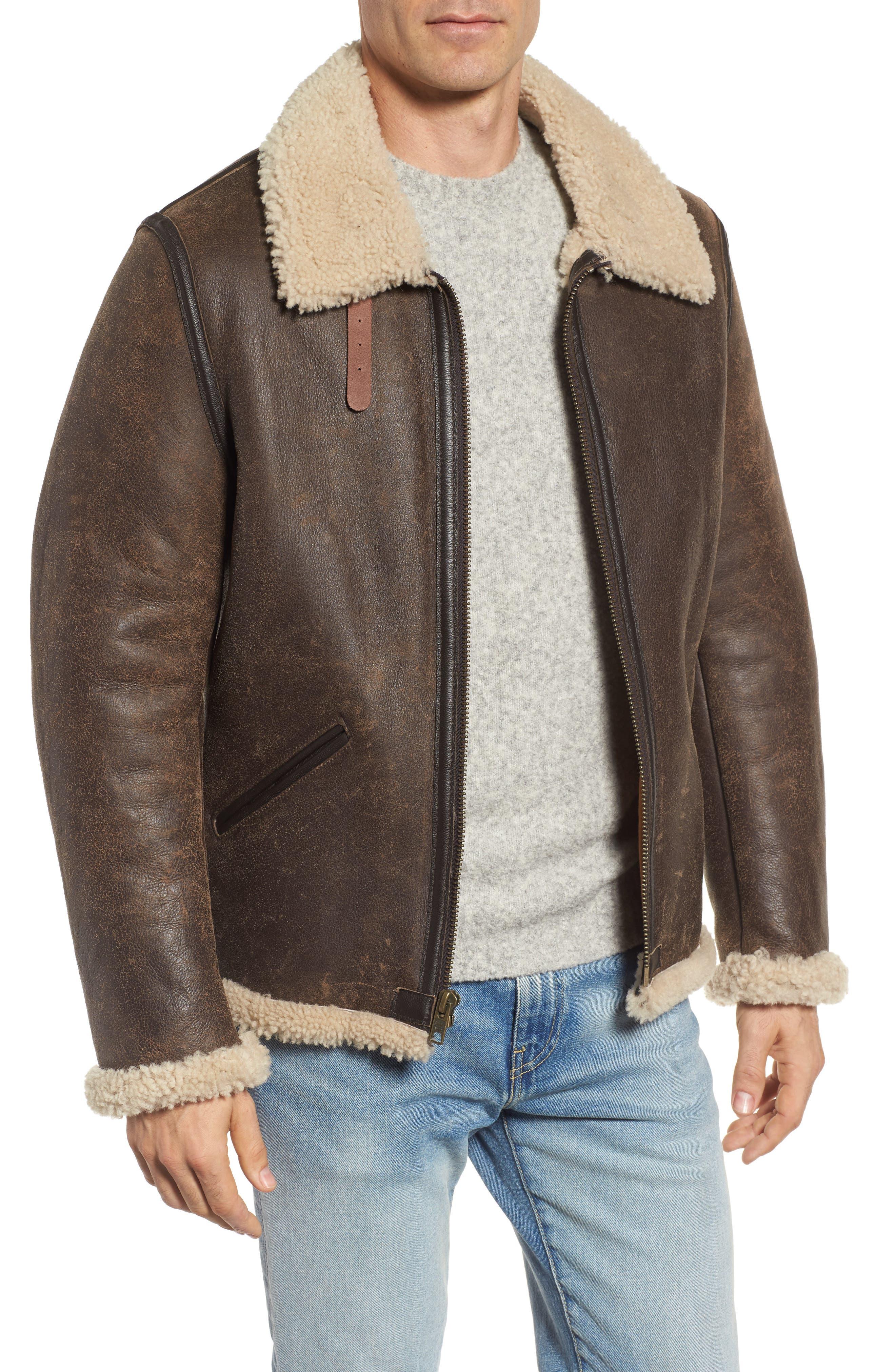 Genuine Shearling Vintage B-6 Bomber Jacket,                             Main thumbnail 1, color,                             Brown