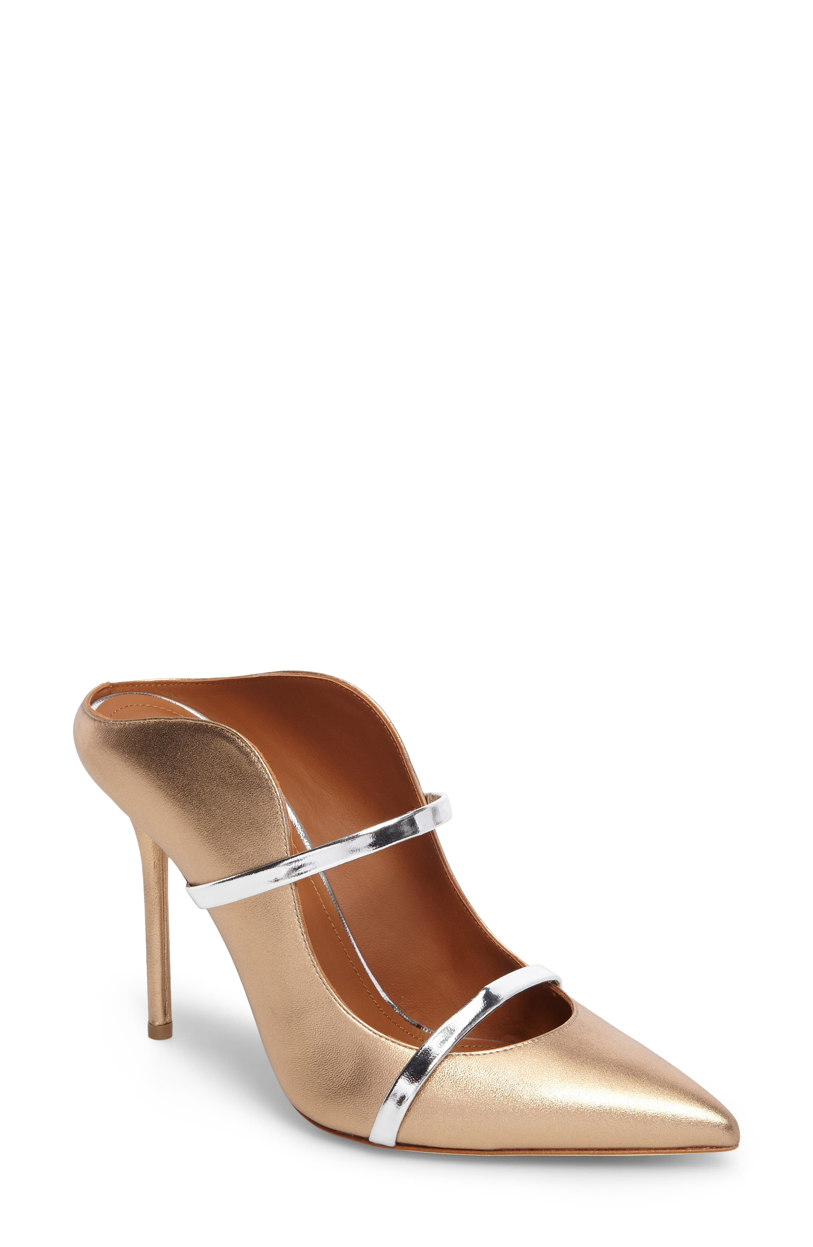 Maureen Double Band Mule,                         Main,                         color, Gold/ Silver