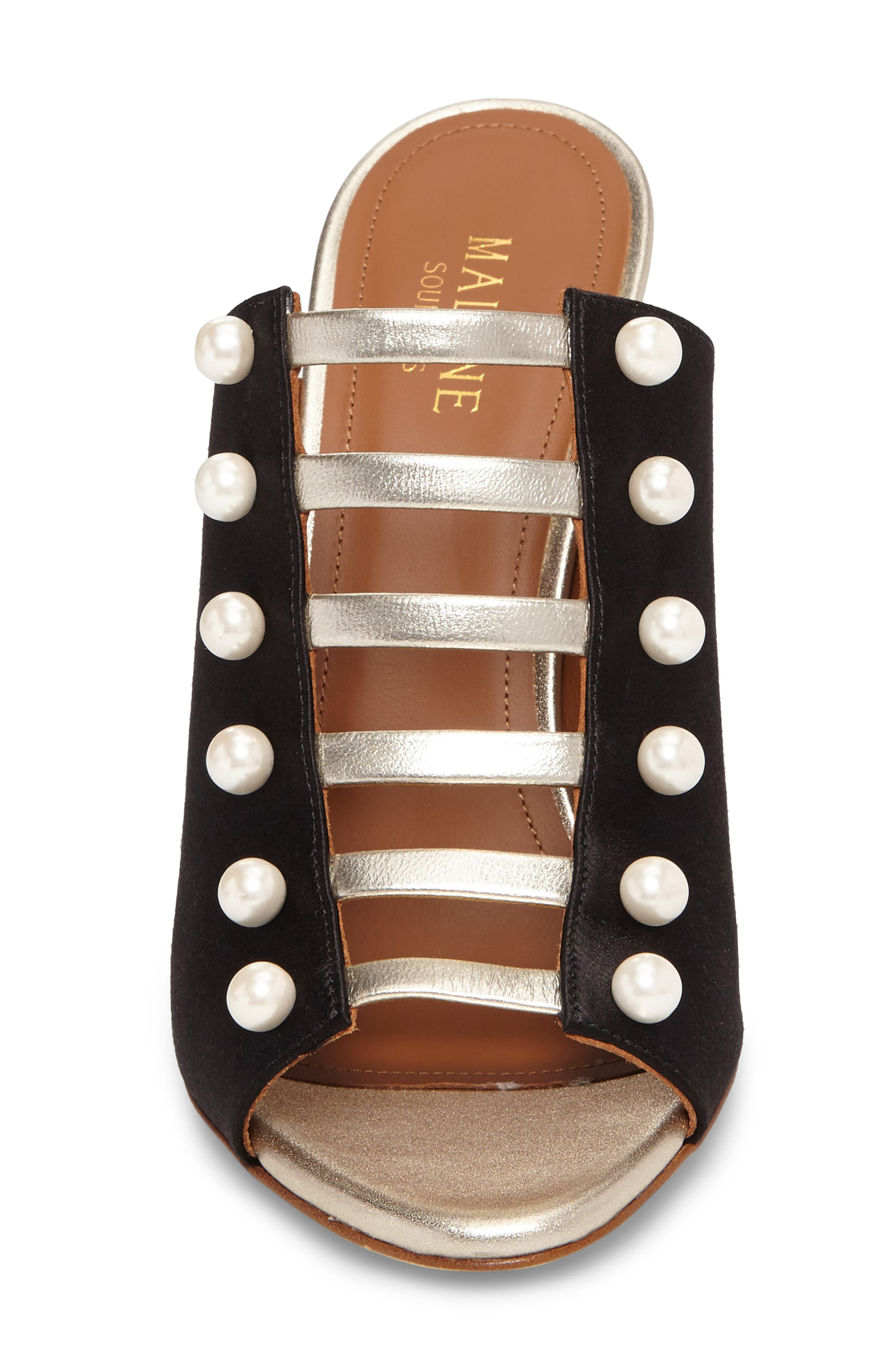 Imitation Pearl Studded Slide,                             Alternate thumbnail 4, color,                             Black/ Platino