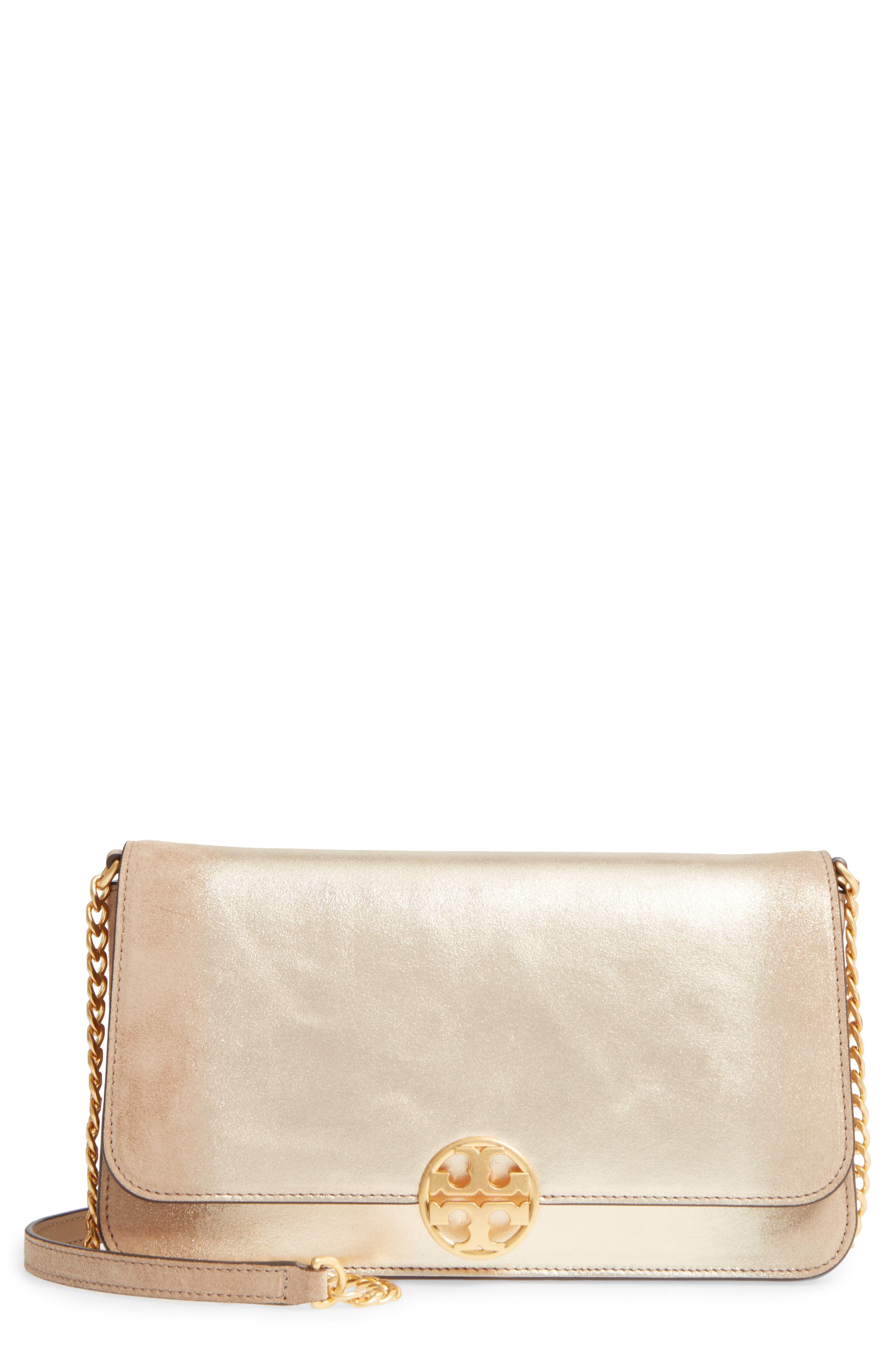 Main Image - Tory Burch Chelsea Convertible Metallic Leather Clutch