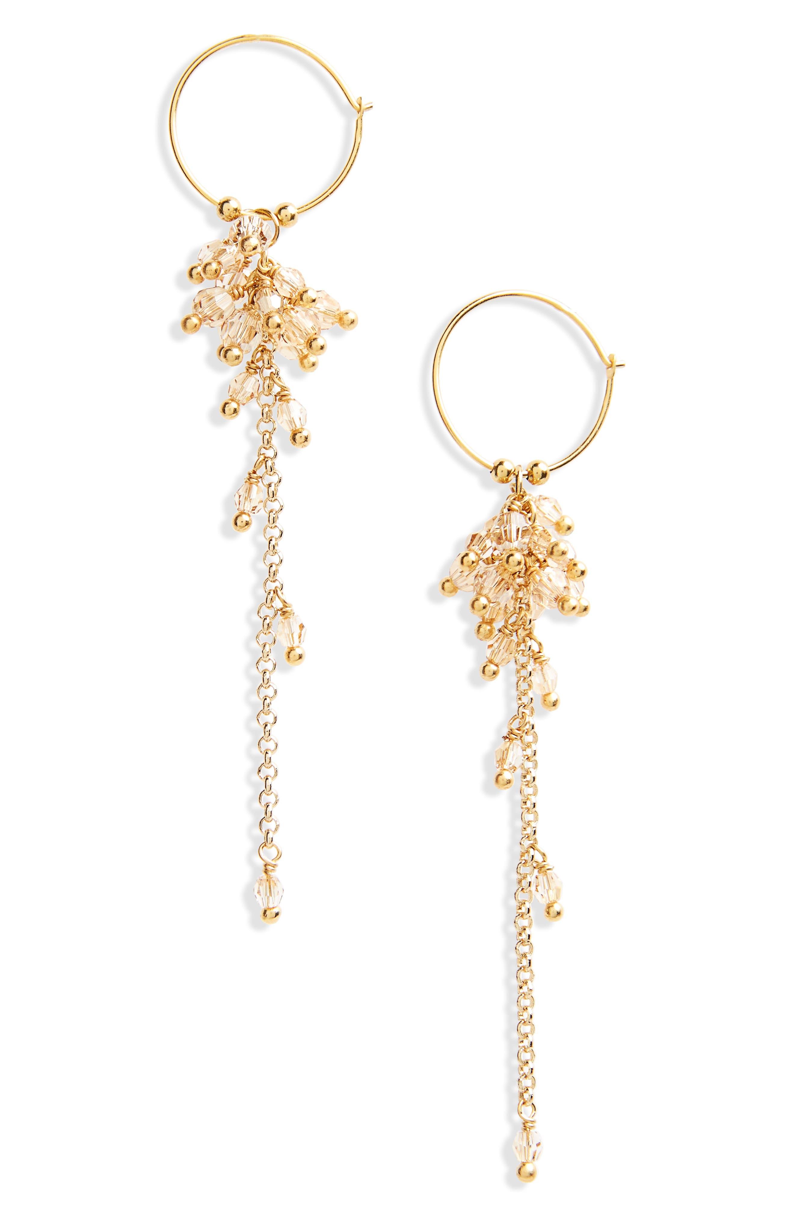 Crystal Cluster Hoop Earrings,                             Main thumbnail 1, color,                             Golden Shadow