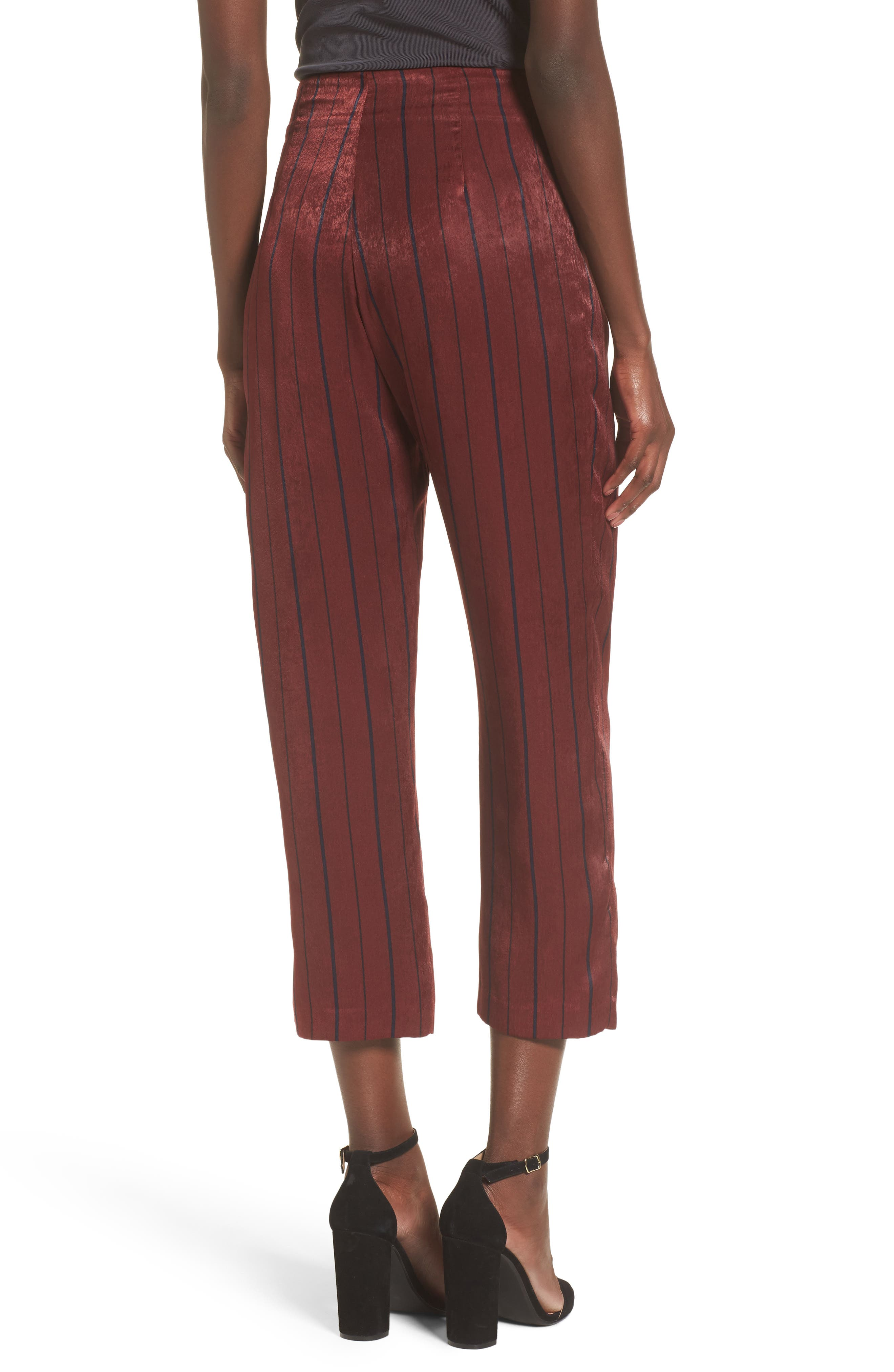 Stripe Crop Pants,                             Alternate thumbnail 3, color,                             Wine Multi
