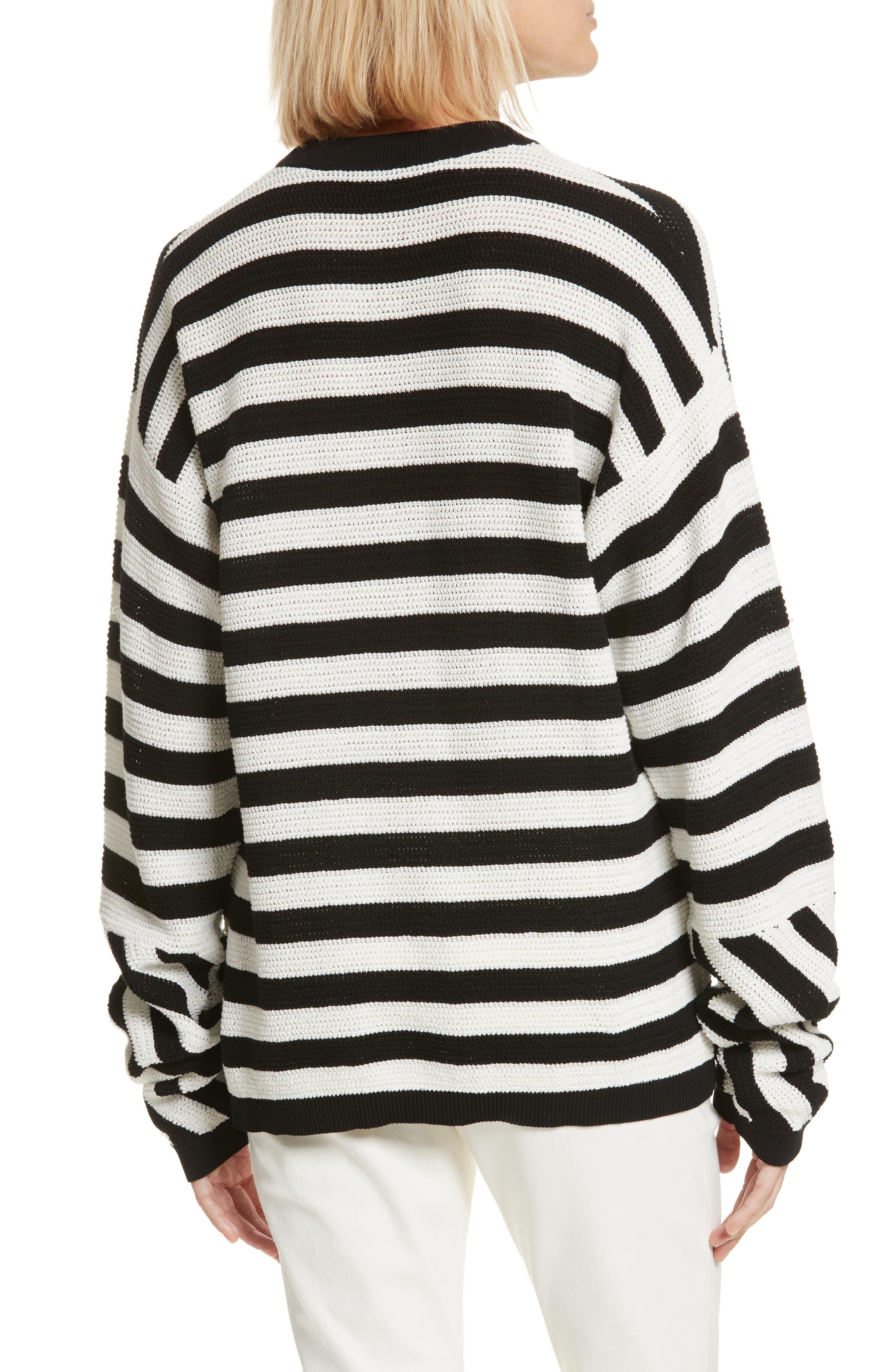 Stripe Cotton Pique Sweater,                             Alternate thumbnail 2, color,                             Black