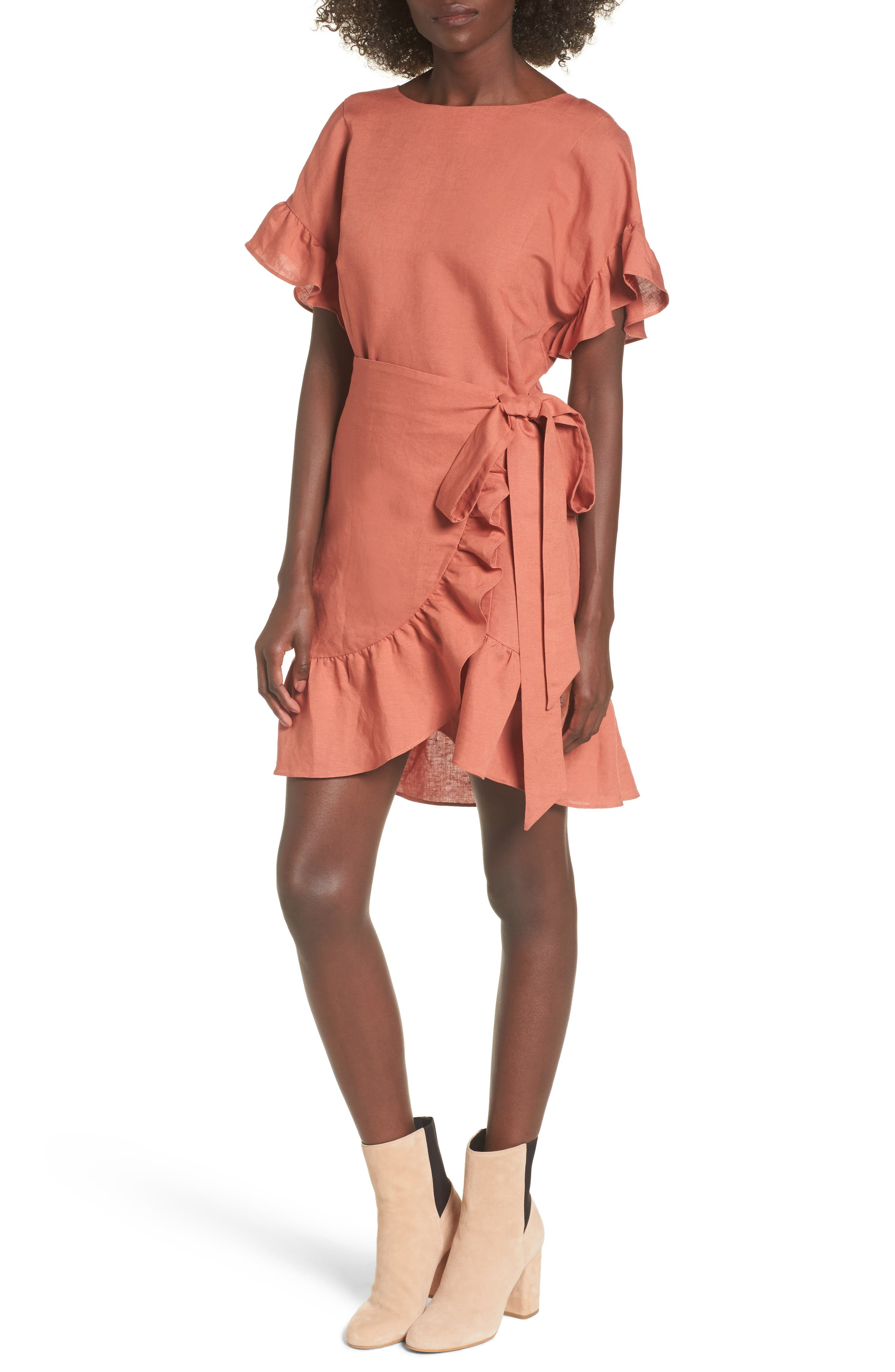 Ruffle Linen Blend Wrap Dress,                         Main,                         color, Coral Cedar