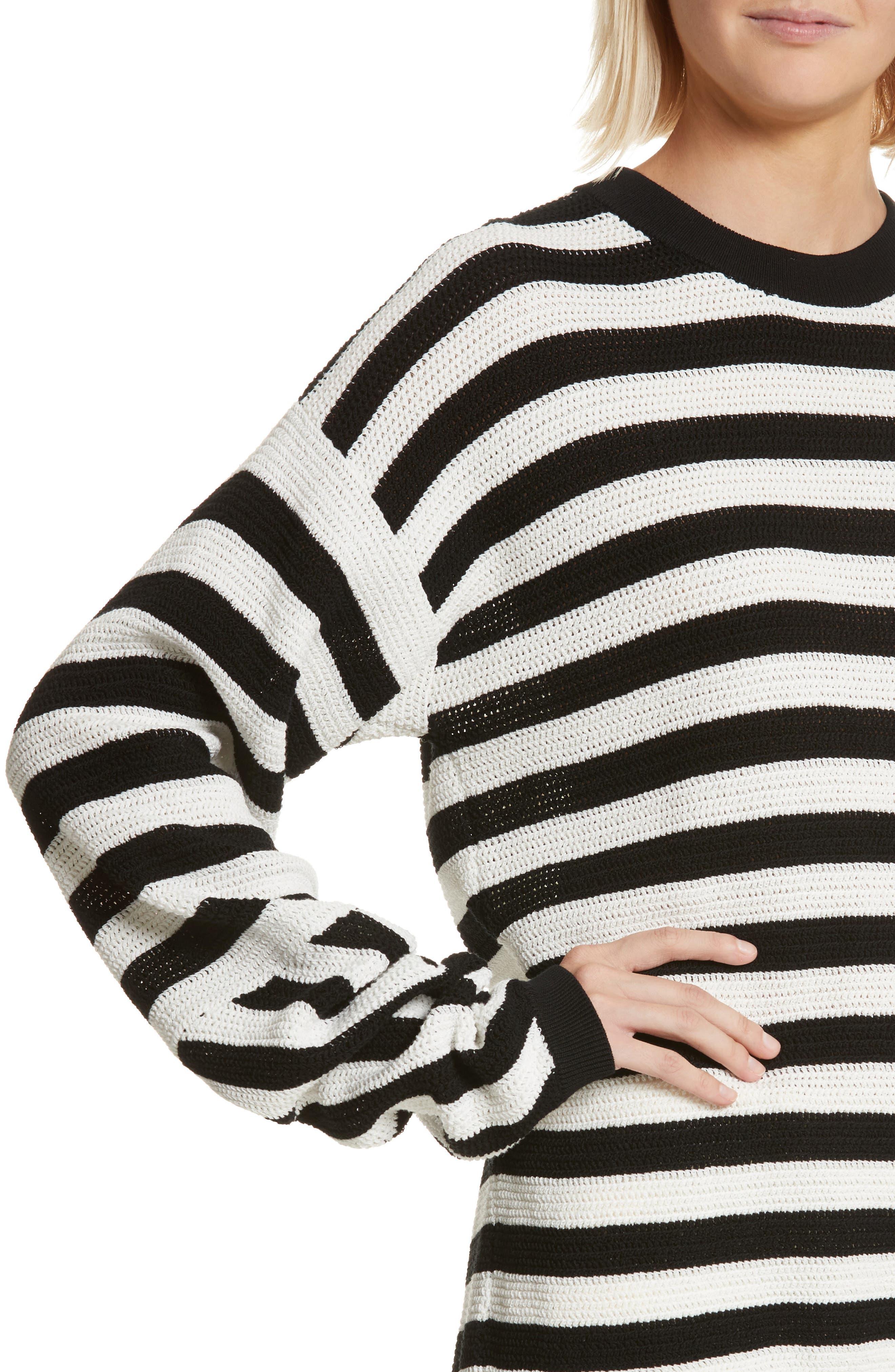 Stripe Cotton Pique Sweater,                             Alternate thumbnail 4, color,                             Black