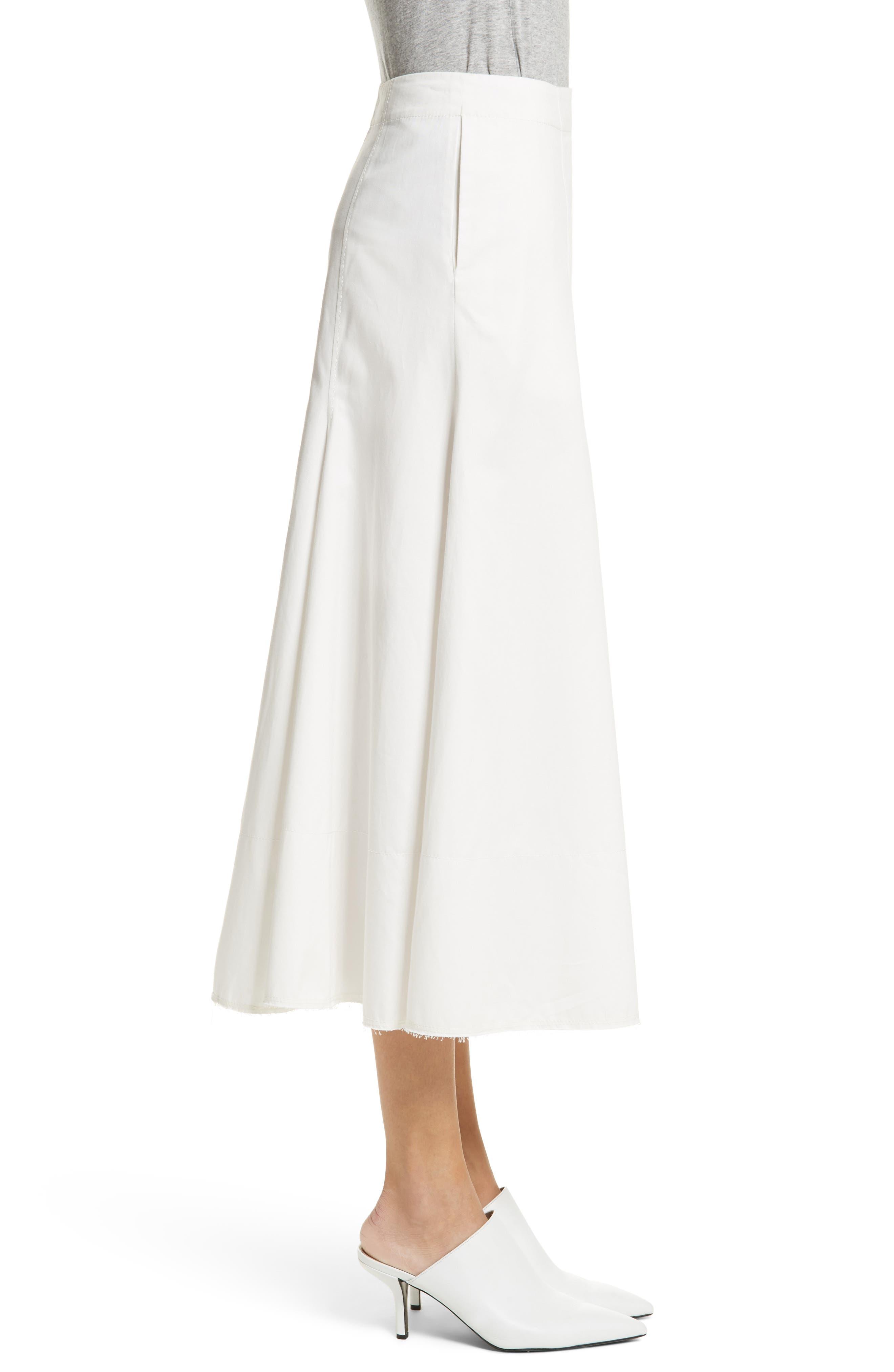 Twill Chino Midi Skirt,                             Alternate thumbnail 3, color,                             Ecru
