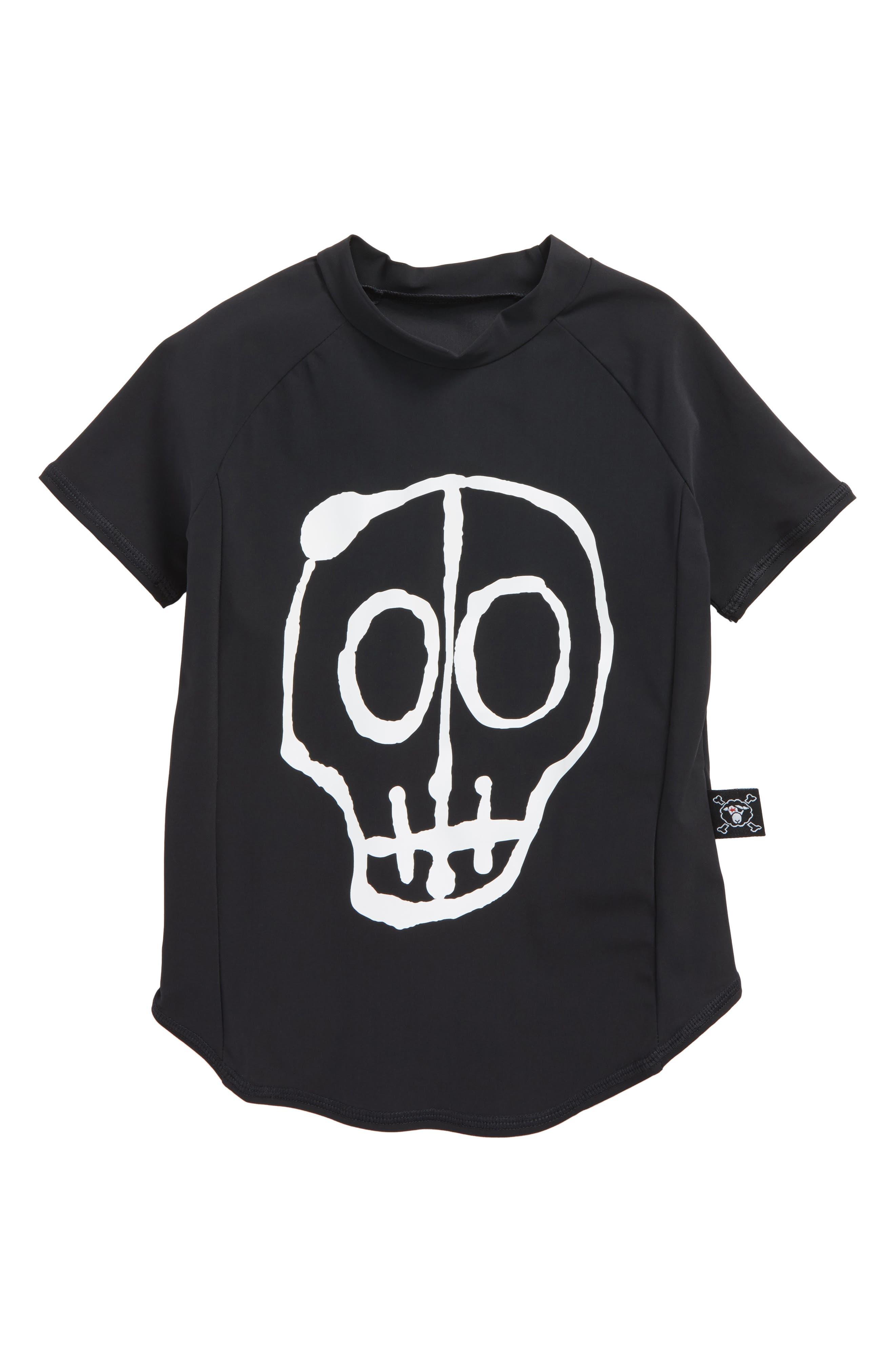 Skull Rashguard,                             Main thumbnail 1, color,                             Black