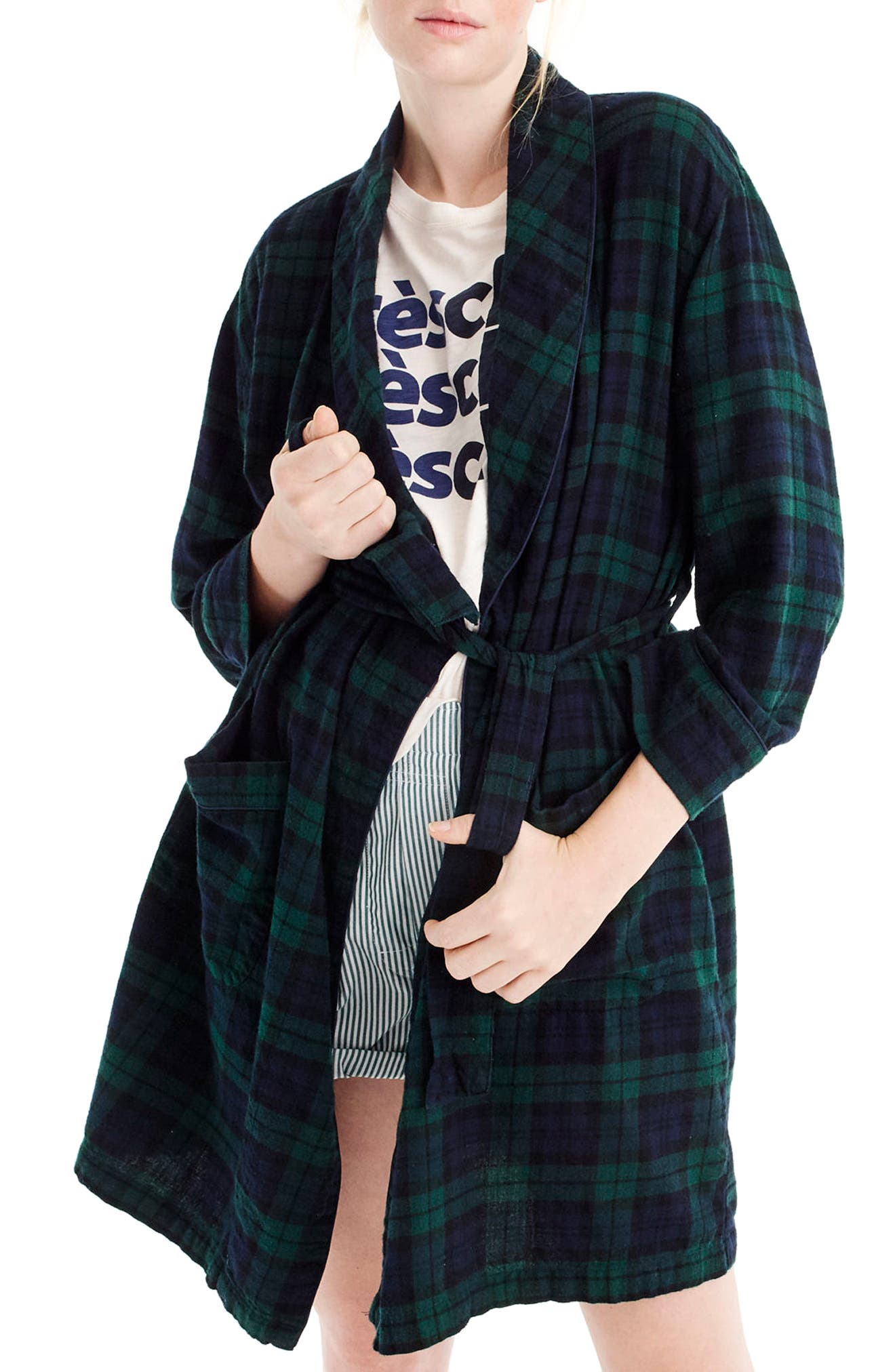 Blackwatch Flannel Short Robe,                             Main thumbnail 1, color,                             Midnight