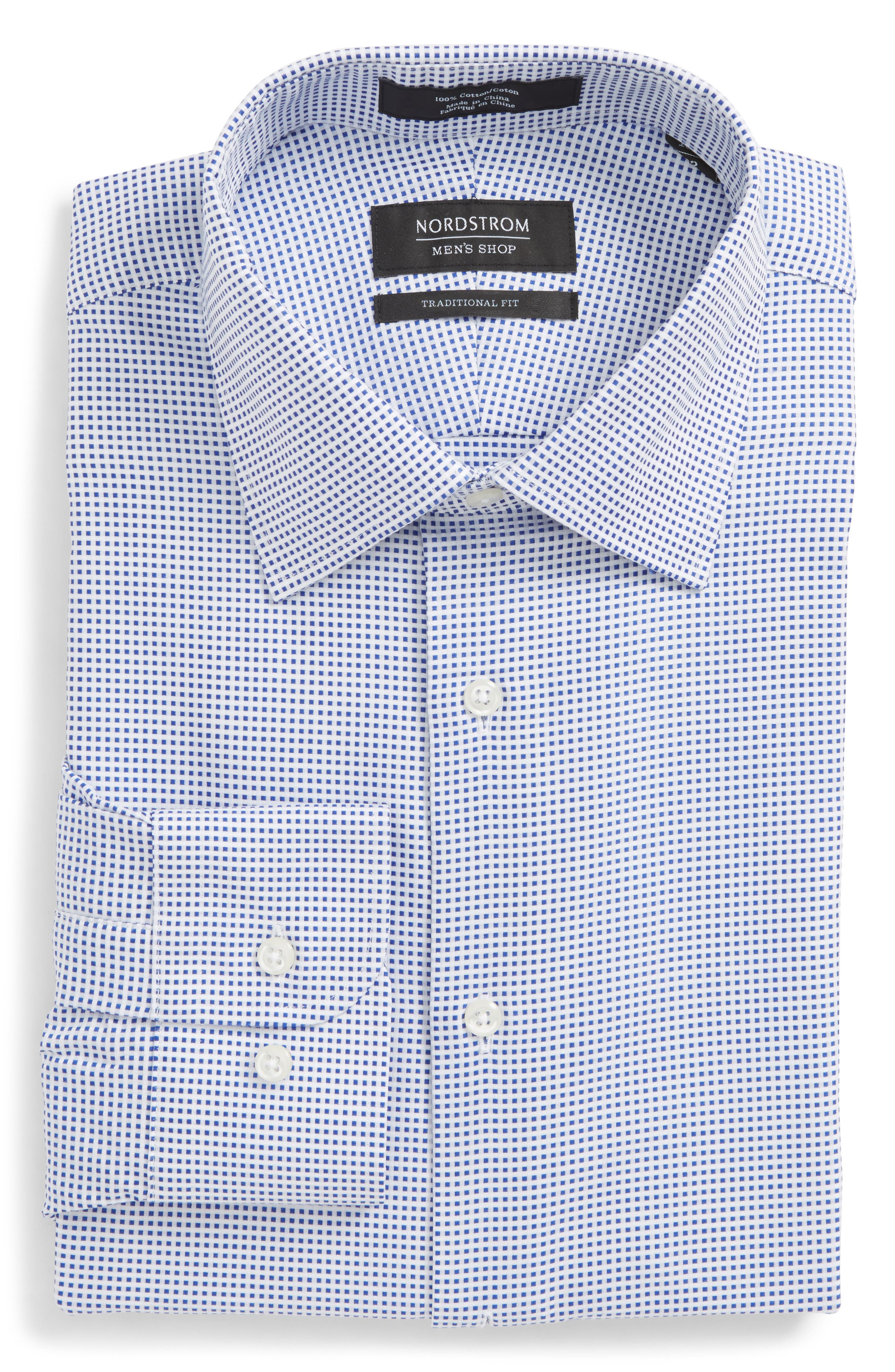 Traditional Fit Microcheck Dress Shirt,                             Alternate thumbnail 6, color,                             Blue Surf