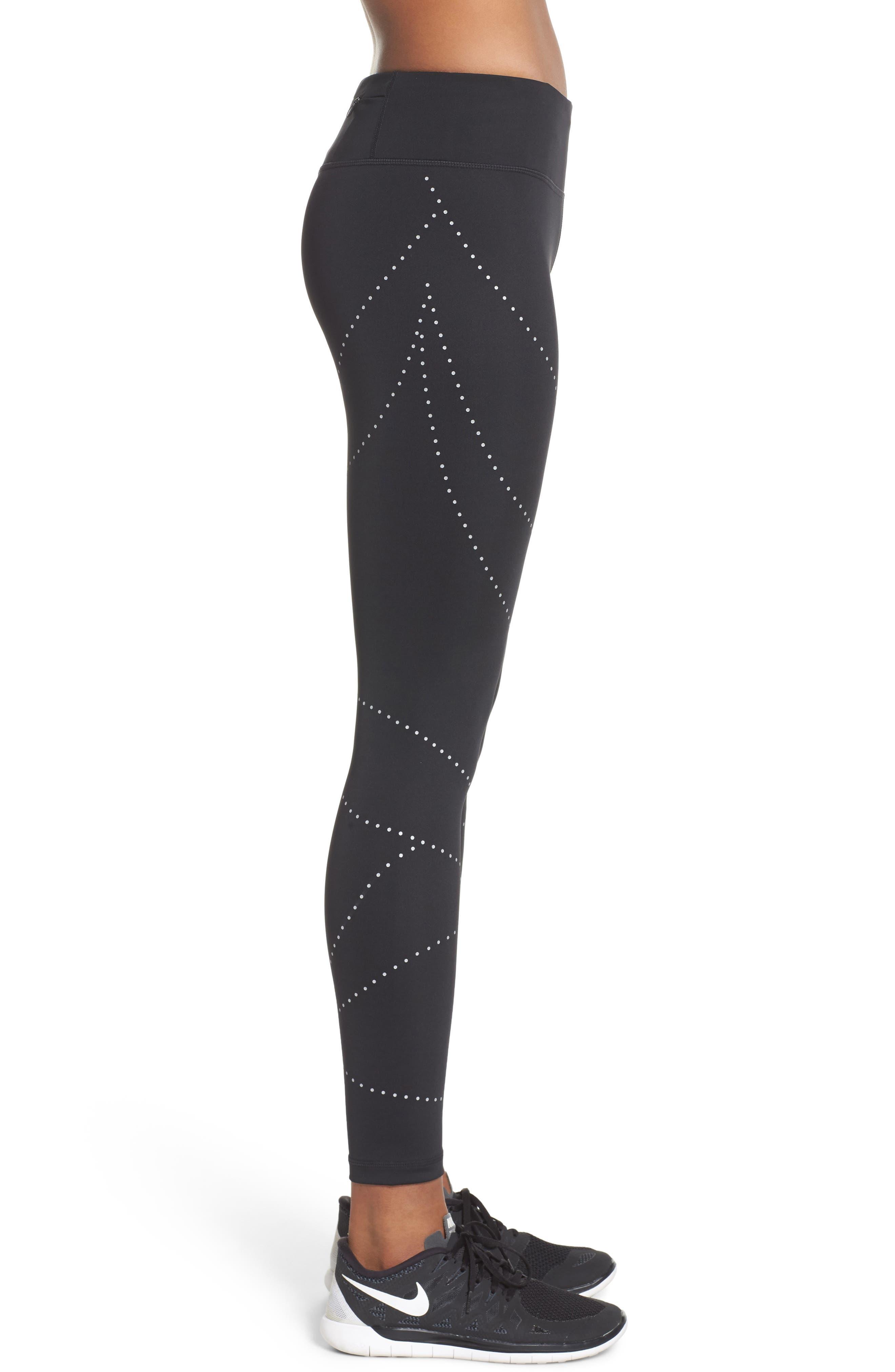 Aero Reflect Run Ankle Leggings,                             Alternate thumbnail 3, color,                             Black