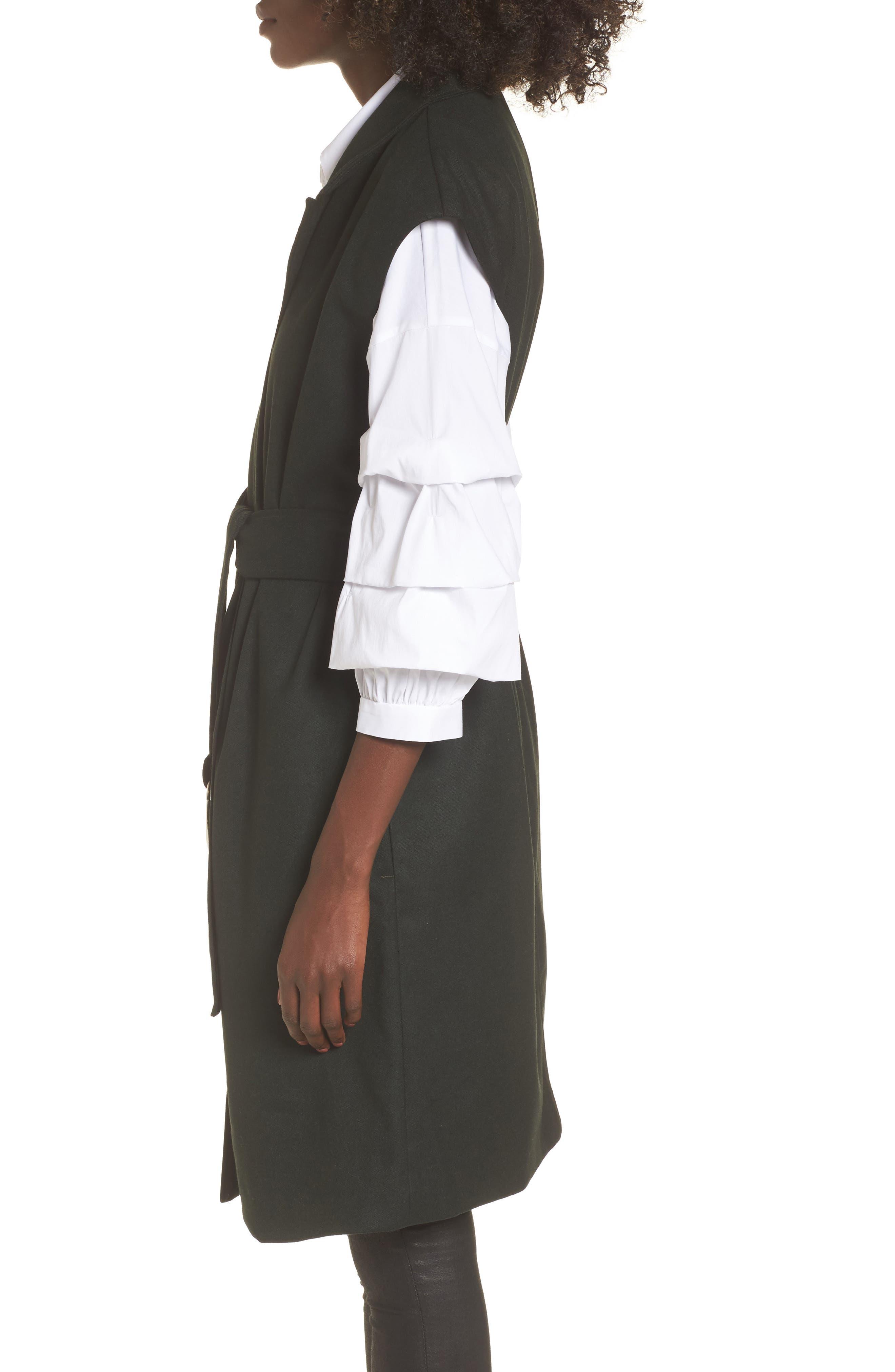 Belted Longline Vest,                             Alternate thumbnail 3, color,                             Forest