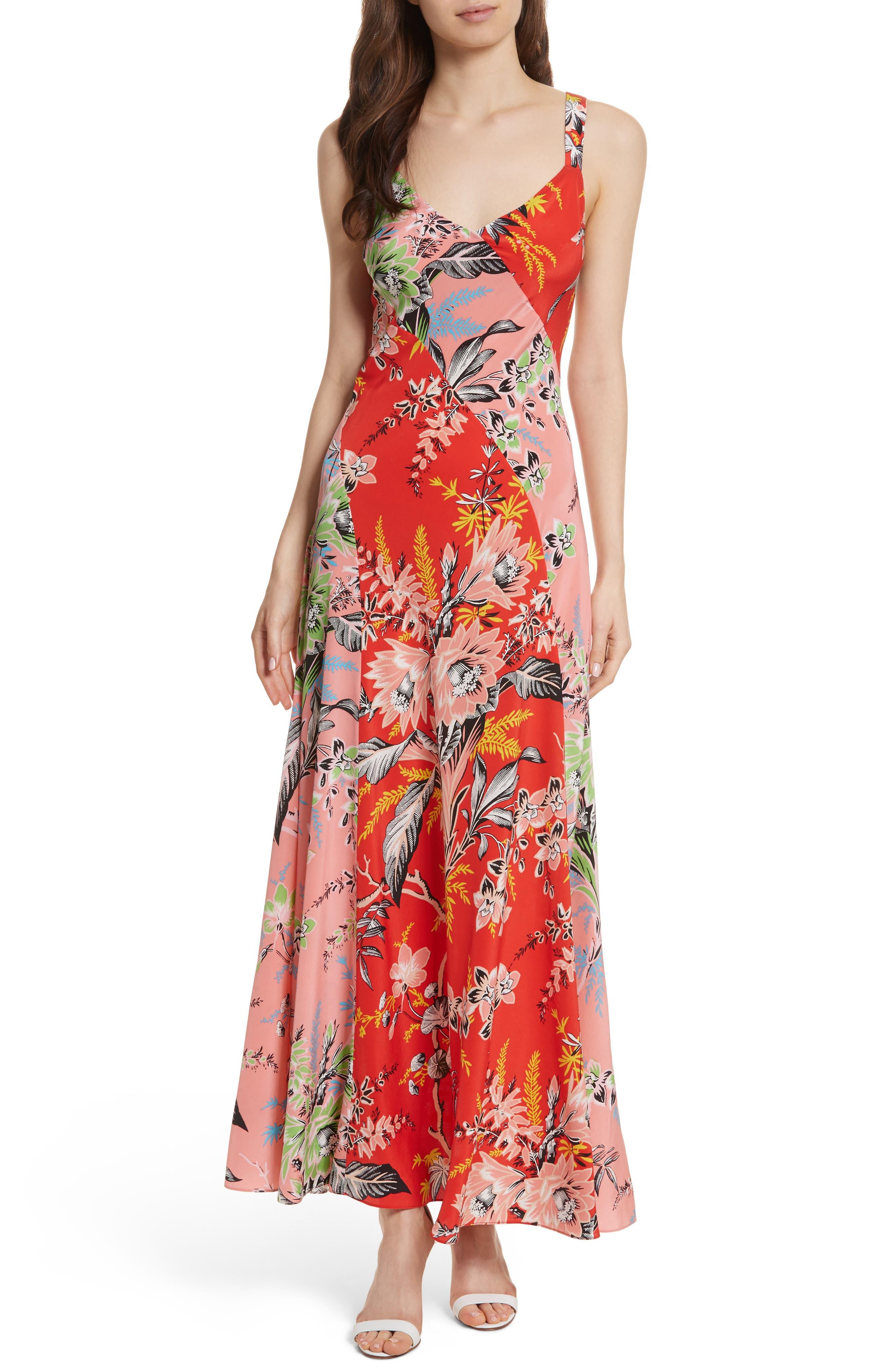 Diane von Furstenberg Paneled Silk Maxi Dress,                             Main thumbnail 1, color,                             Avalon Poppy/ Avalon Hyacinth