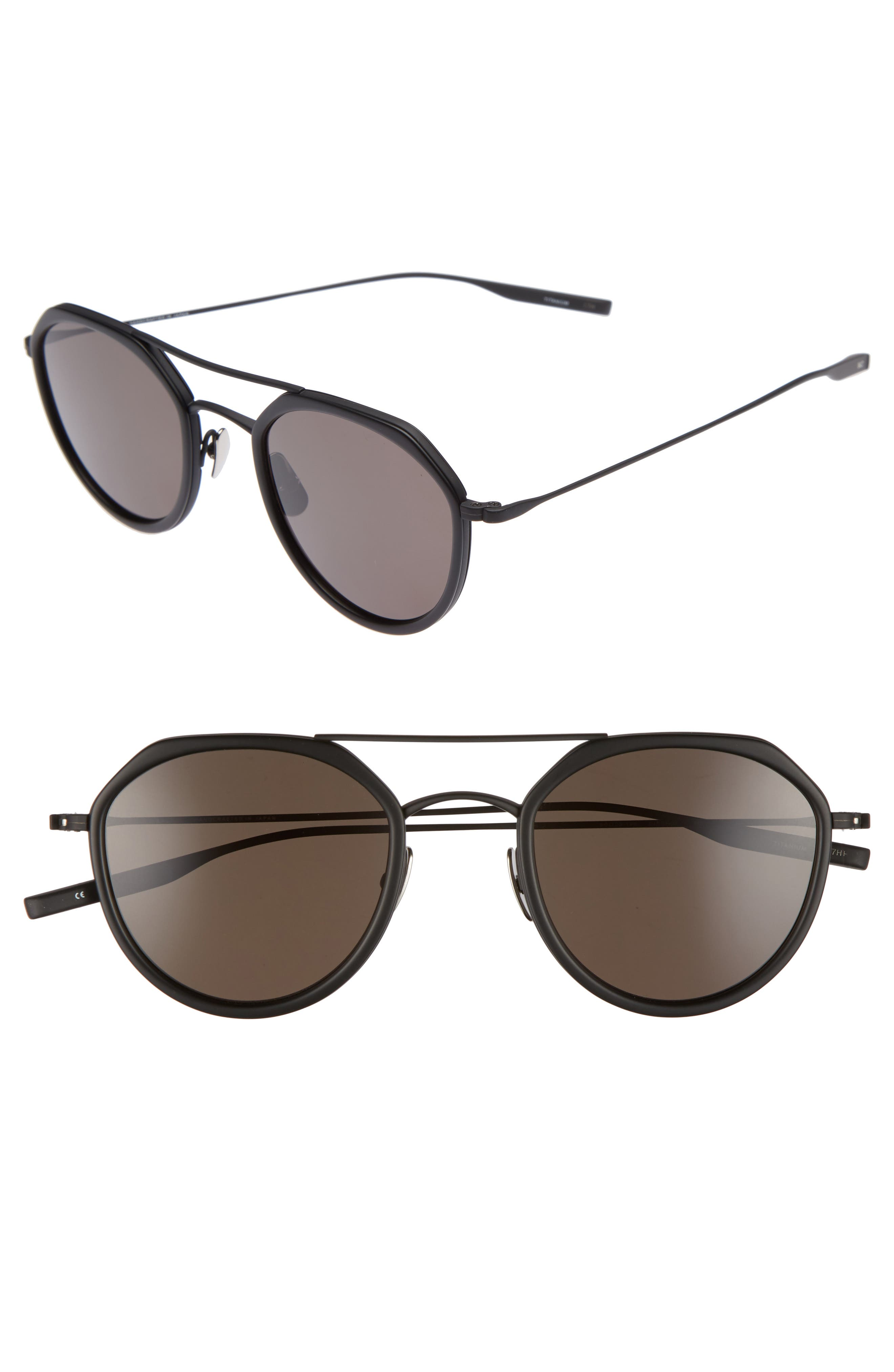 Dibergi Resin 50mm Polarized Round Sunglasses,                             Main thumbnail 1, color,                             Matte Black/ Black Sand