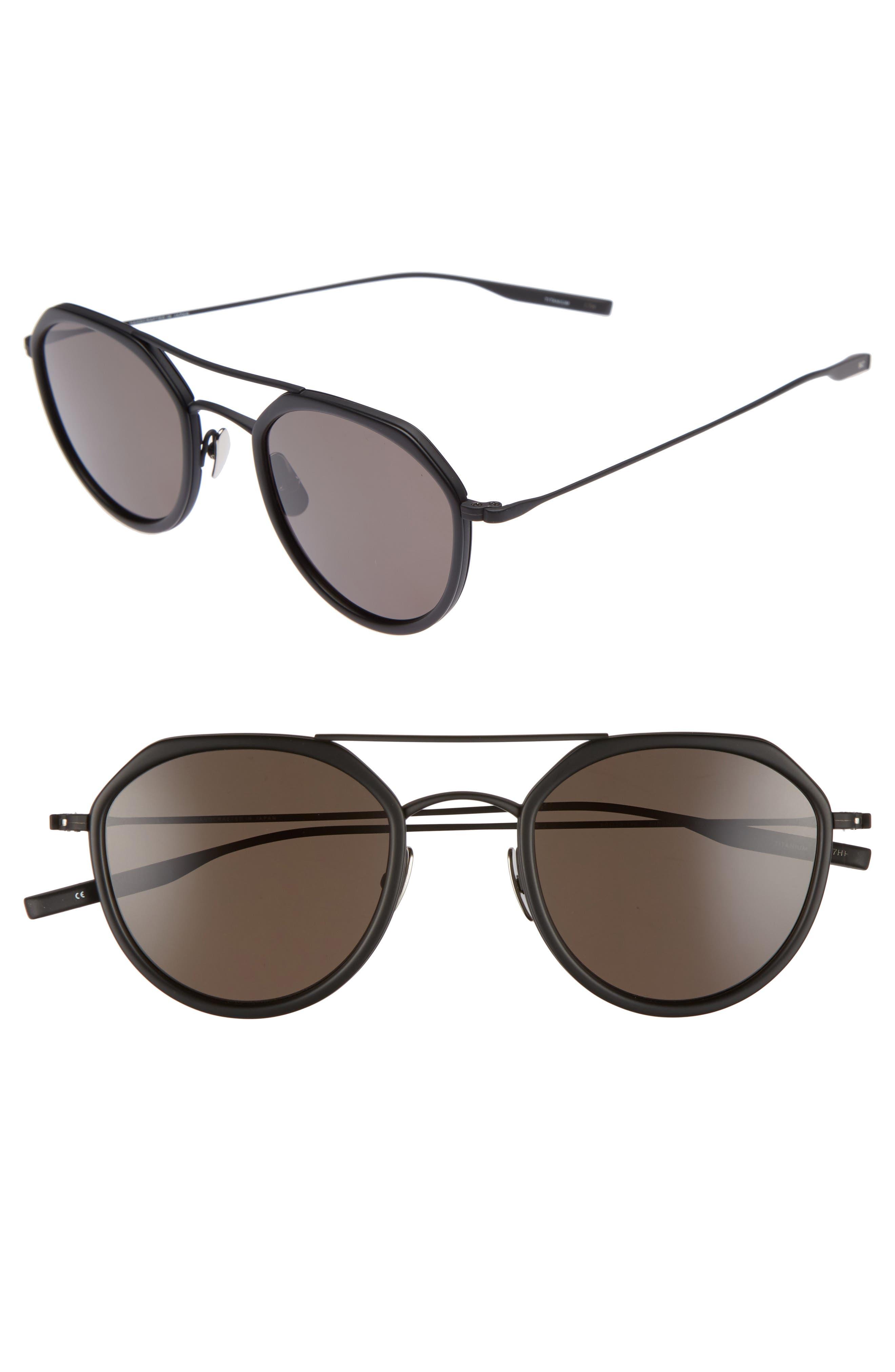 Dibergi Resin 50mm Polarized Round Sunglasses,                         Main,                         color, Matte Black/ Black Sand