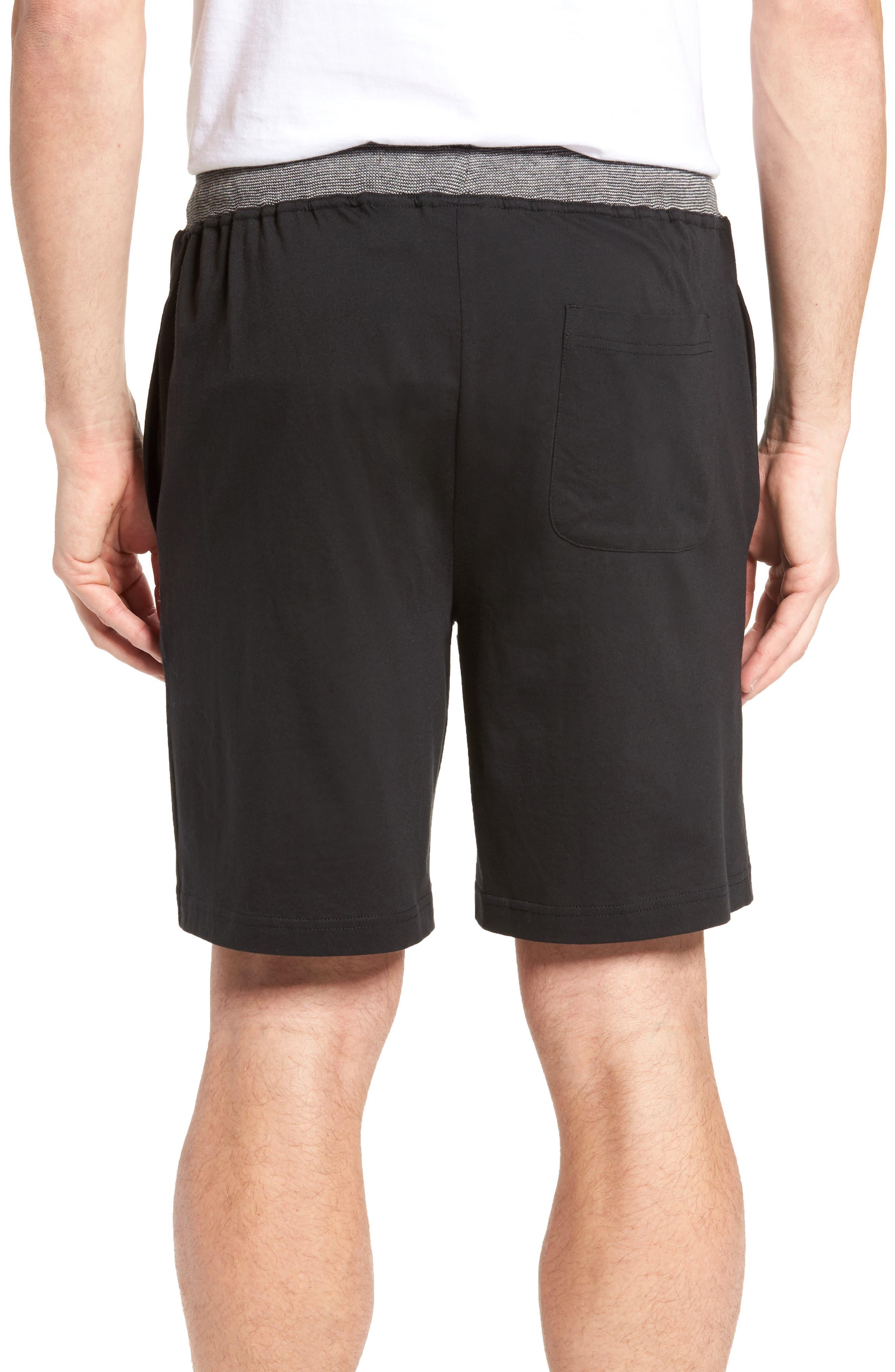 Cotton Lounge Shorts,                             Alternate thumbnail 2, color,                             Solid Black