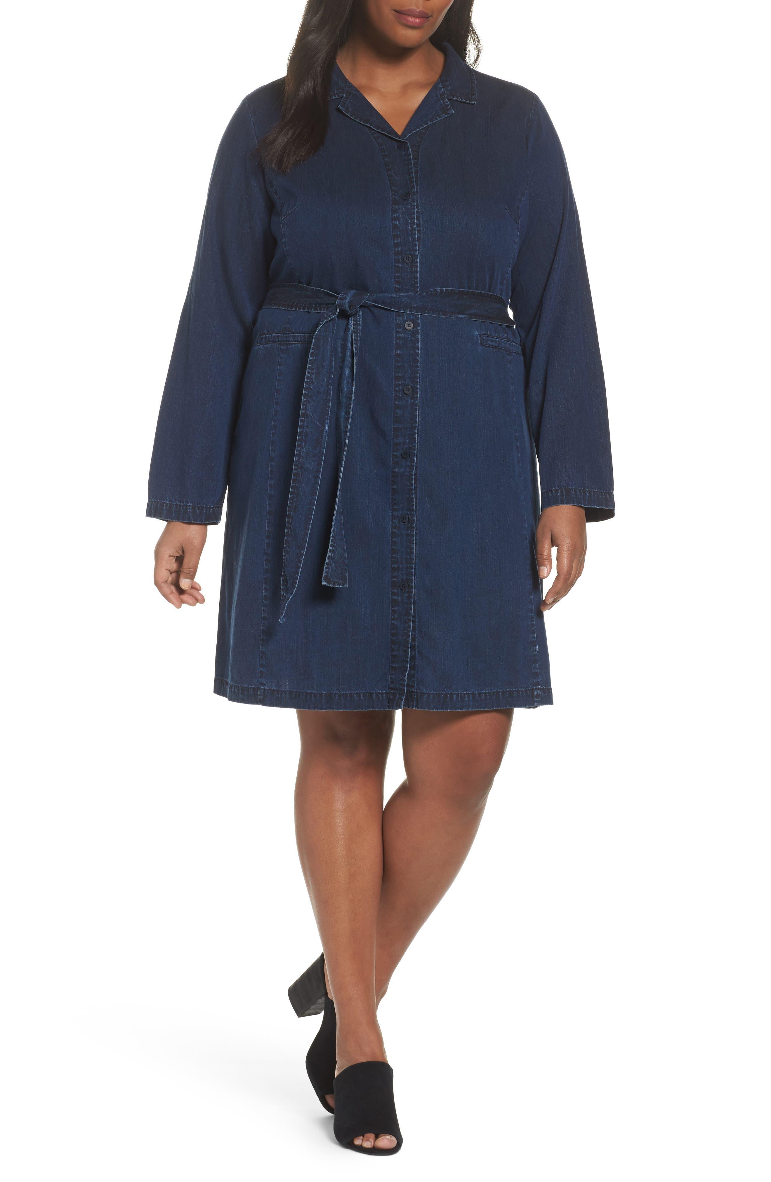 Eileen Fisher Denim Shirtdress (Plus Size)