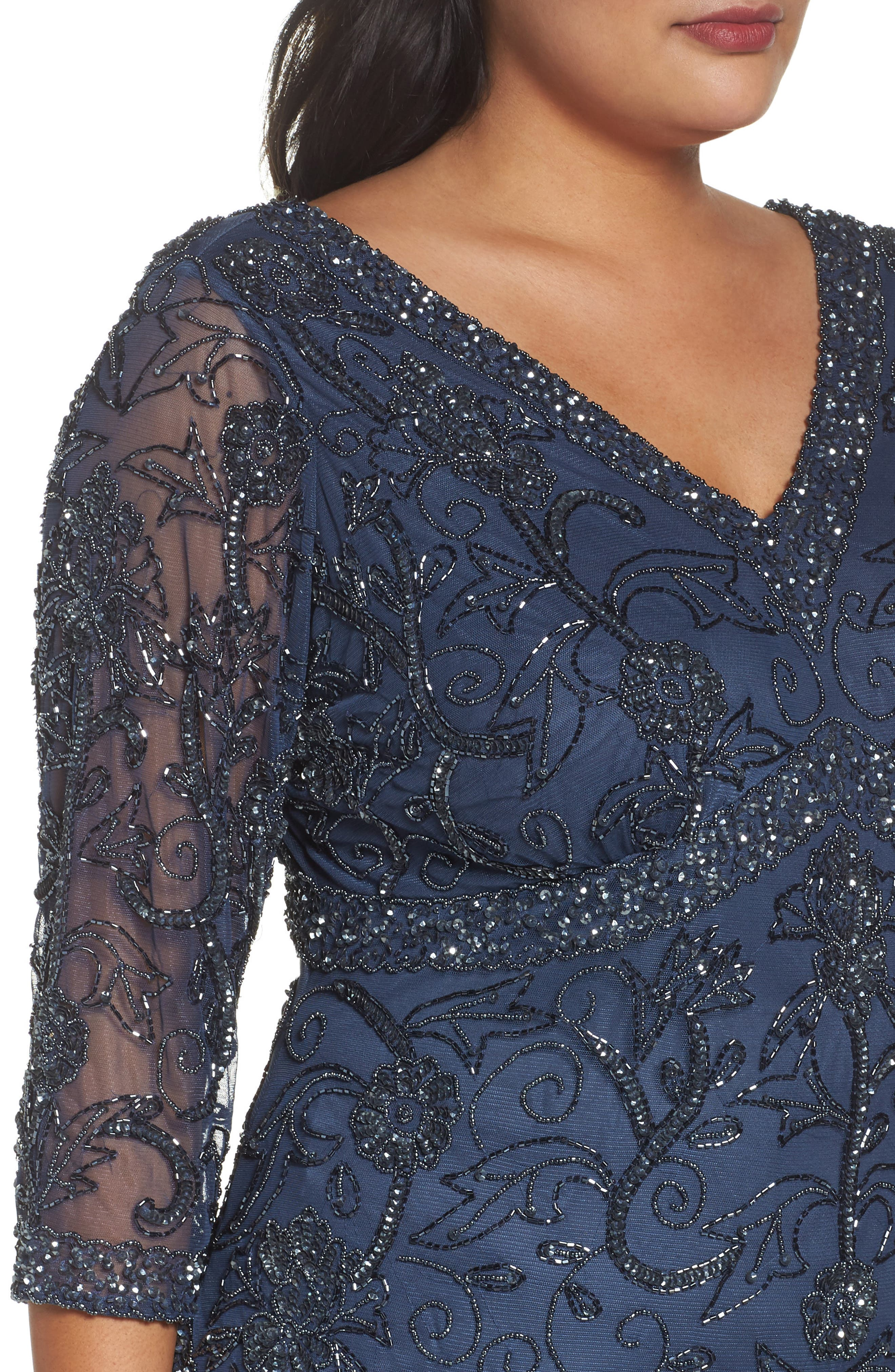 Alternate Image 4  - Pisarro Nights Embellished Double V-Neck Midi Dress (Plus Size)