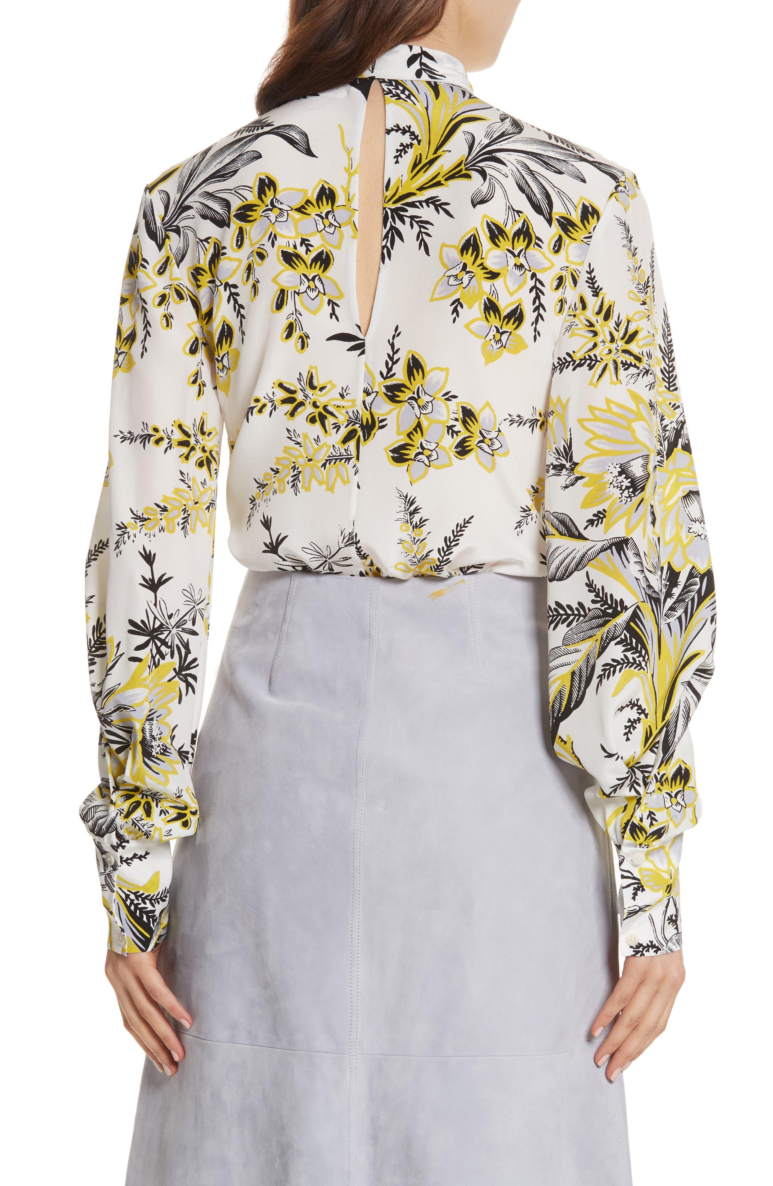 Diane von Furstenberg Tie Neck Silk Blouse,                             Alternate thumbnail 2, color,                             Avalon Ivory