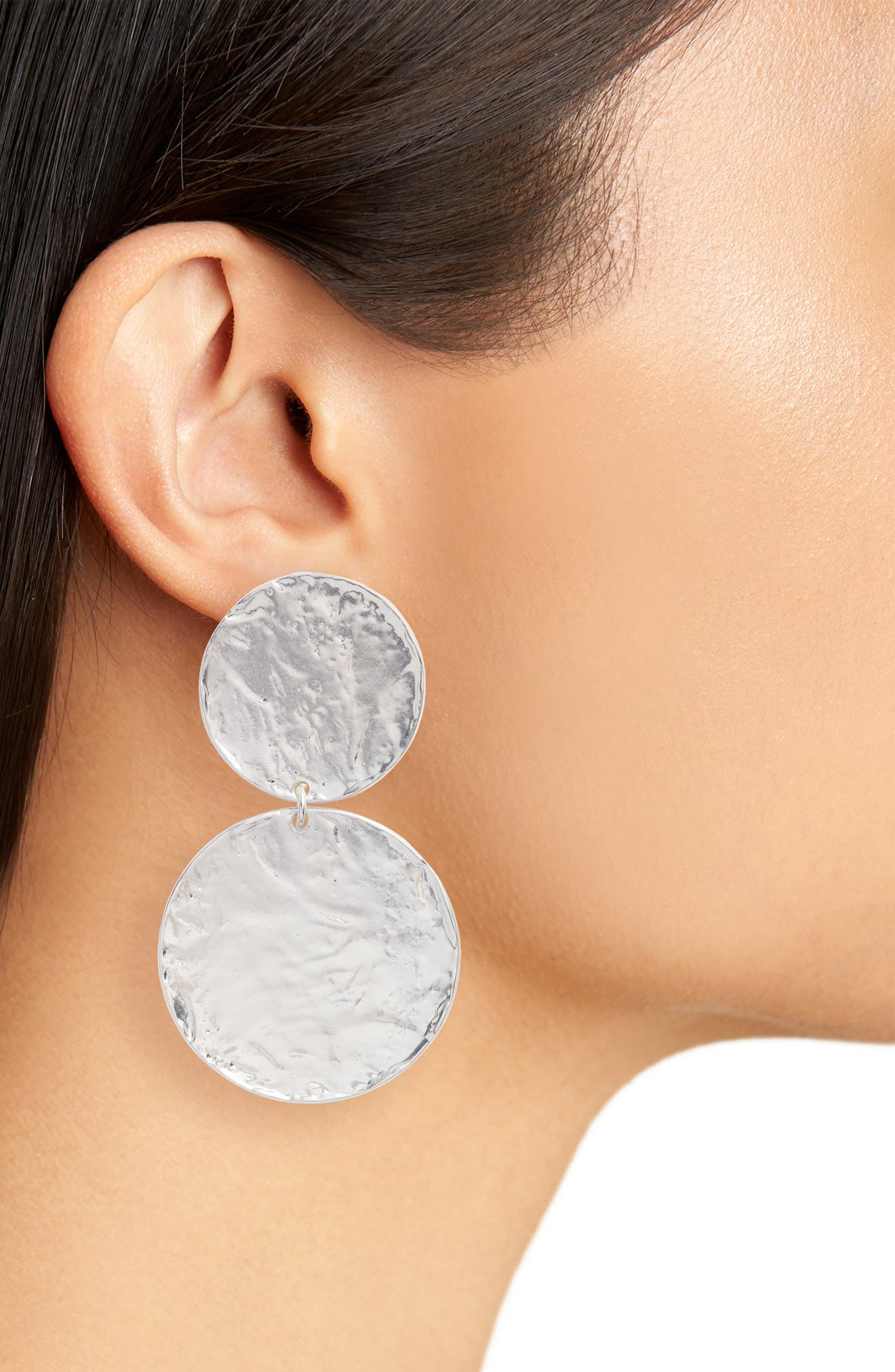 Aimee Large Disc Clip Earrings,                             Alternate thumbnail 2, color,                             Silver