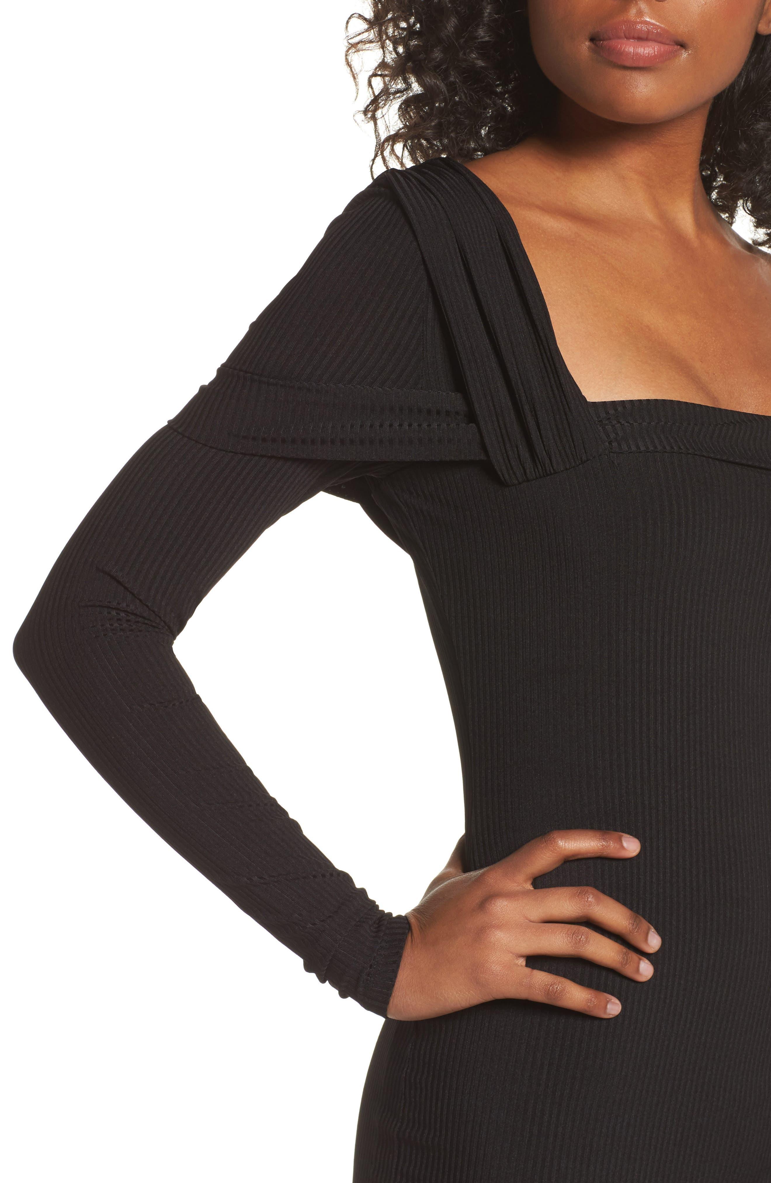 One-Shoulder Body-Con Dress,                             Alternate thumbnail 4, color,                             Black