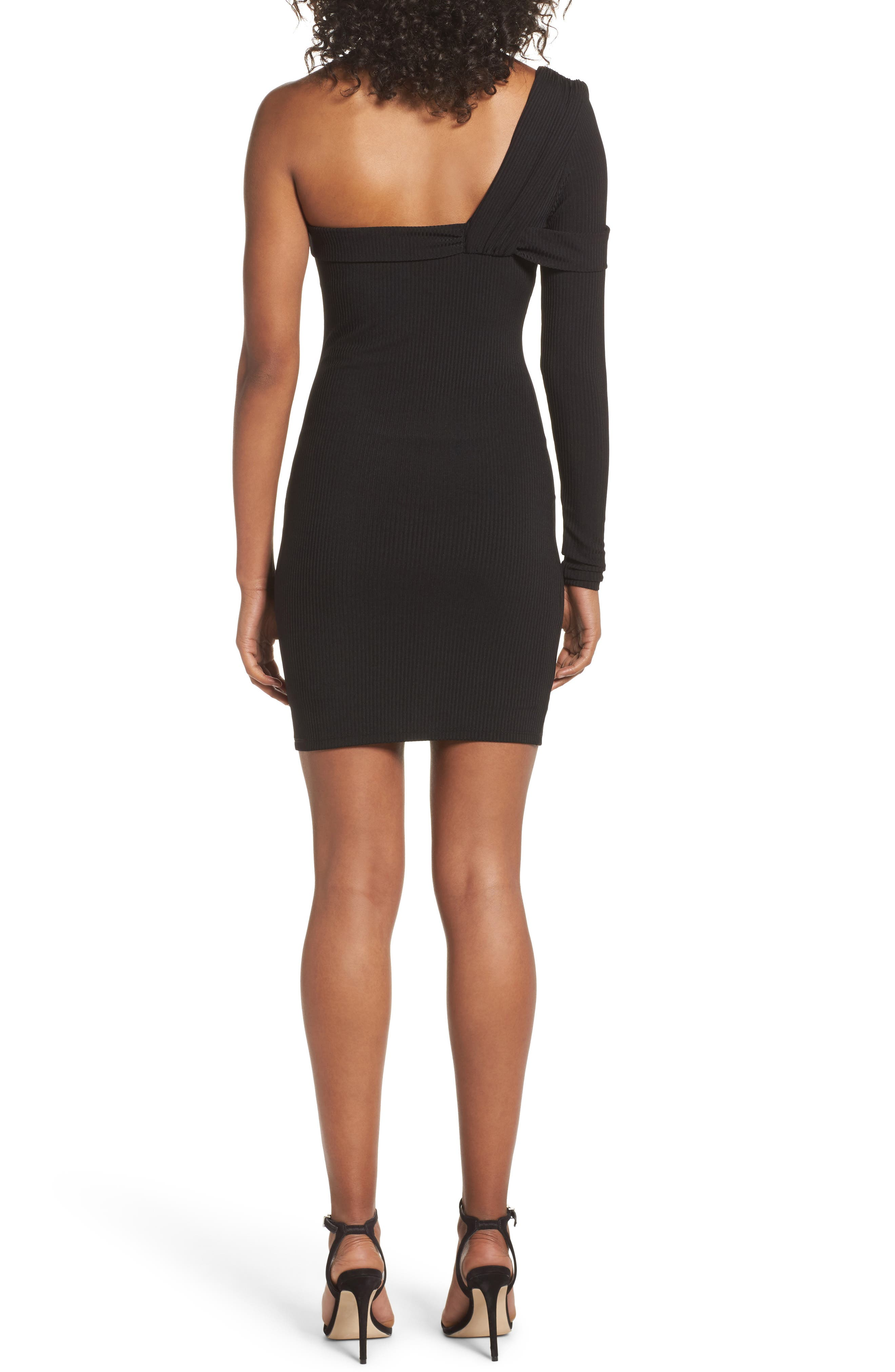 One-Shoulder Body-Con Dress,                             Alternate thumbnail 2, color,                             Black
