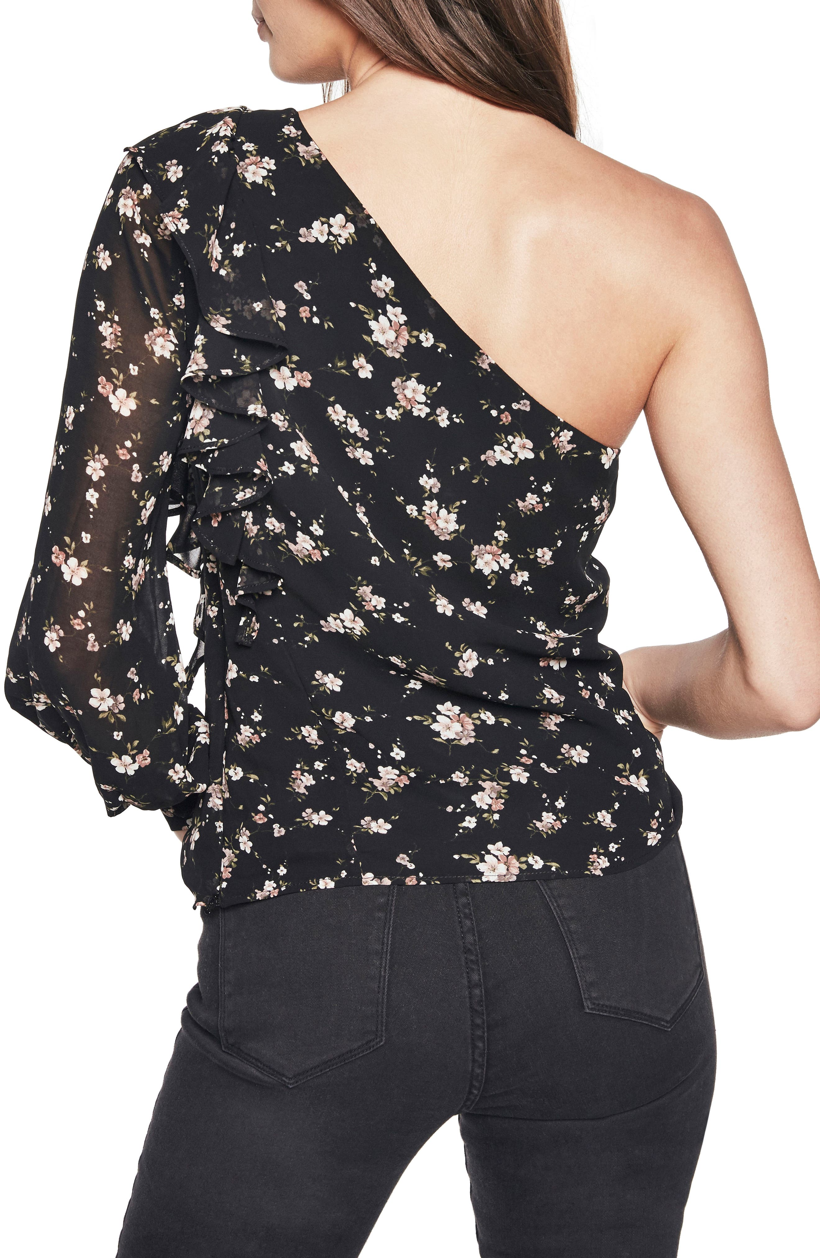 Ruffle One-Shoulder Top,                             Alternate thumbnail 3, color,                             Floral