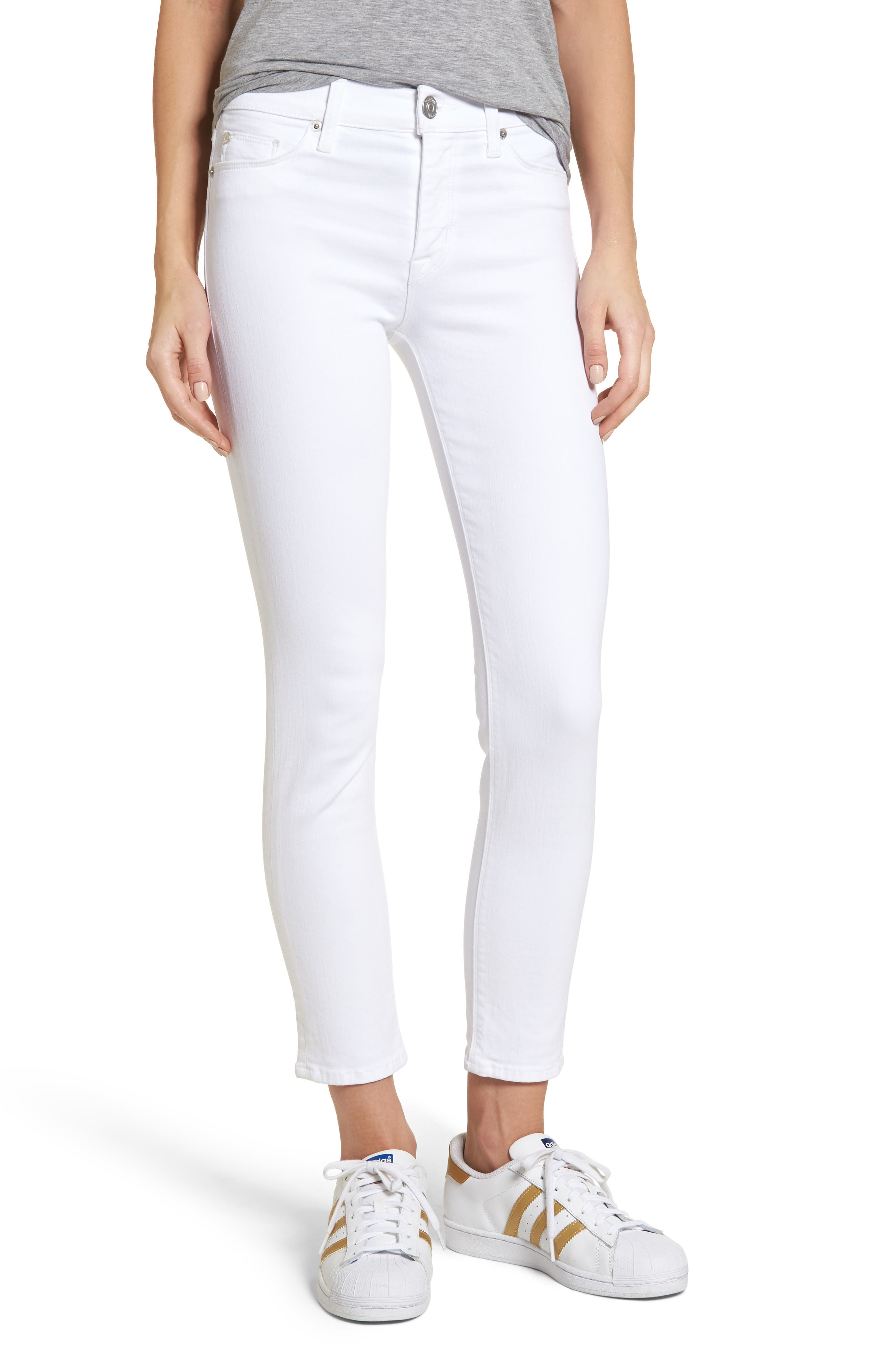 Tally Ankle Skinny Jeans,                             Main thumbnail 1, color,                             Optical White