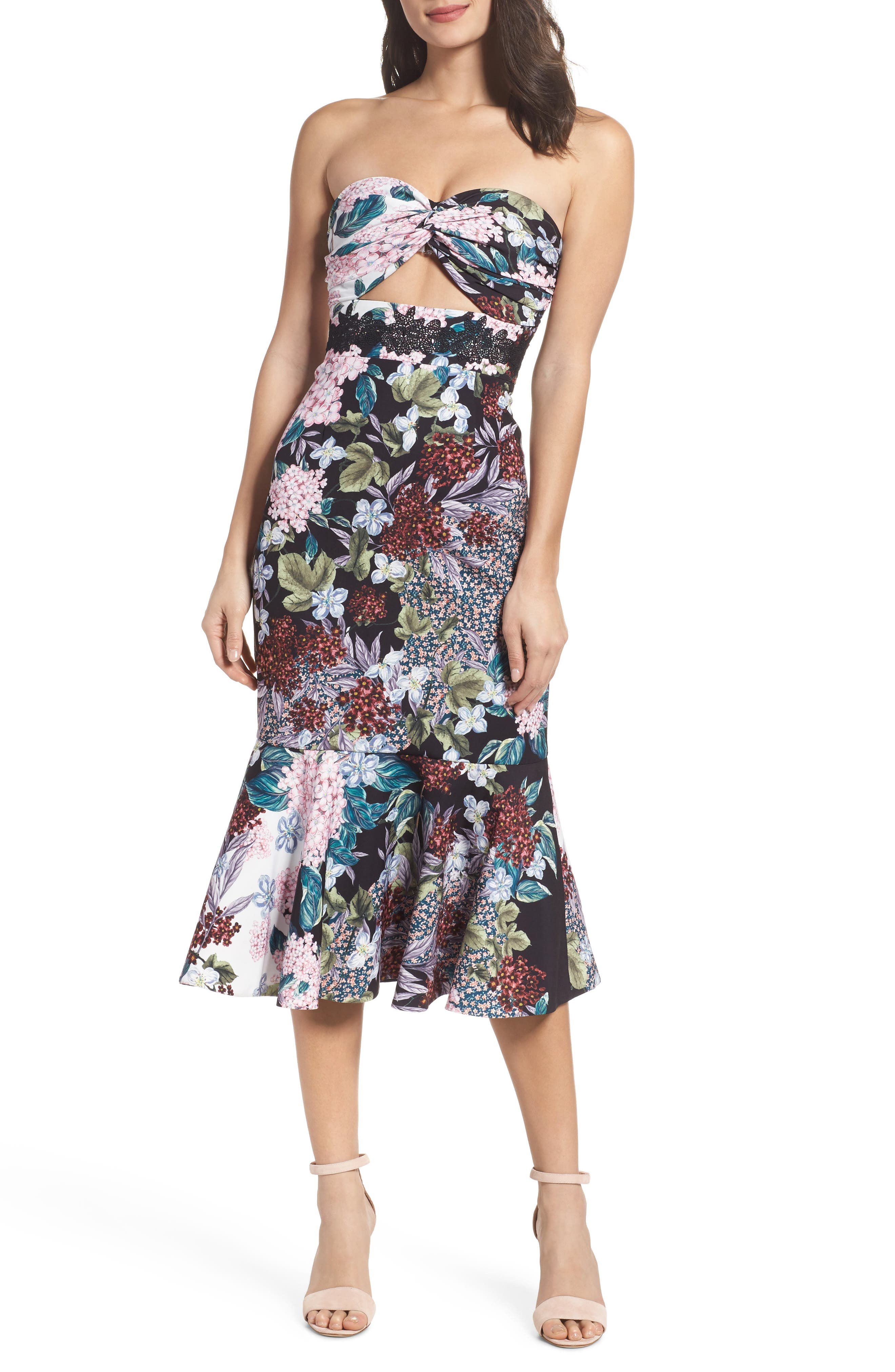 Floral Strapless Midi Dress,                             Main thumbnail 1, color,                             Multi Floral