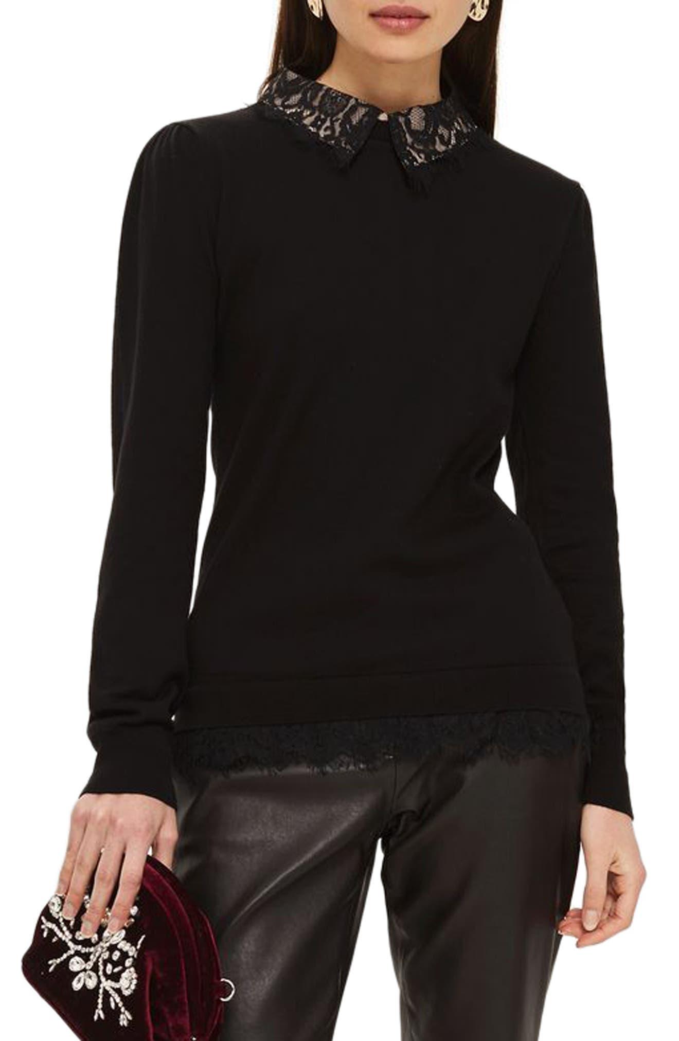 Lace Collar Hybrid Sweater,                         Main,                         color, Black