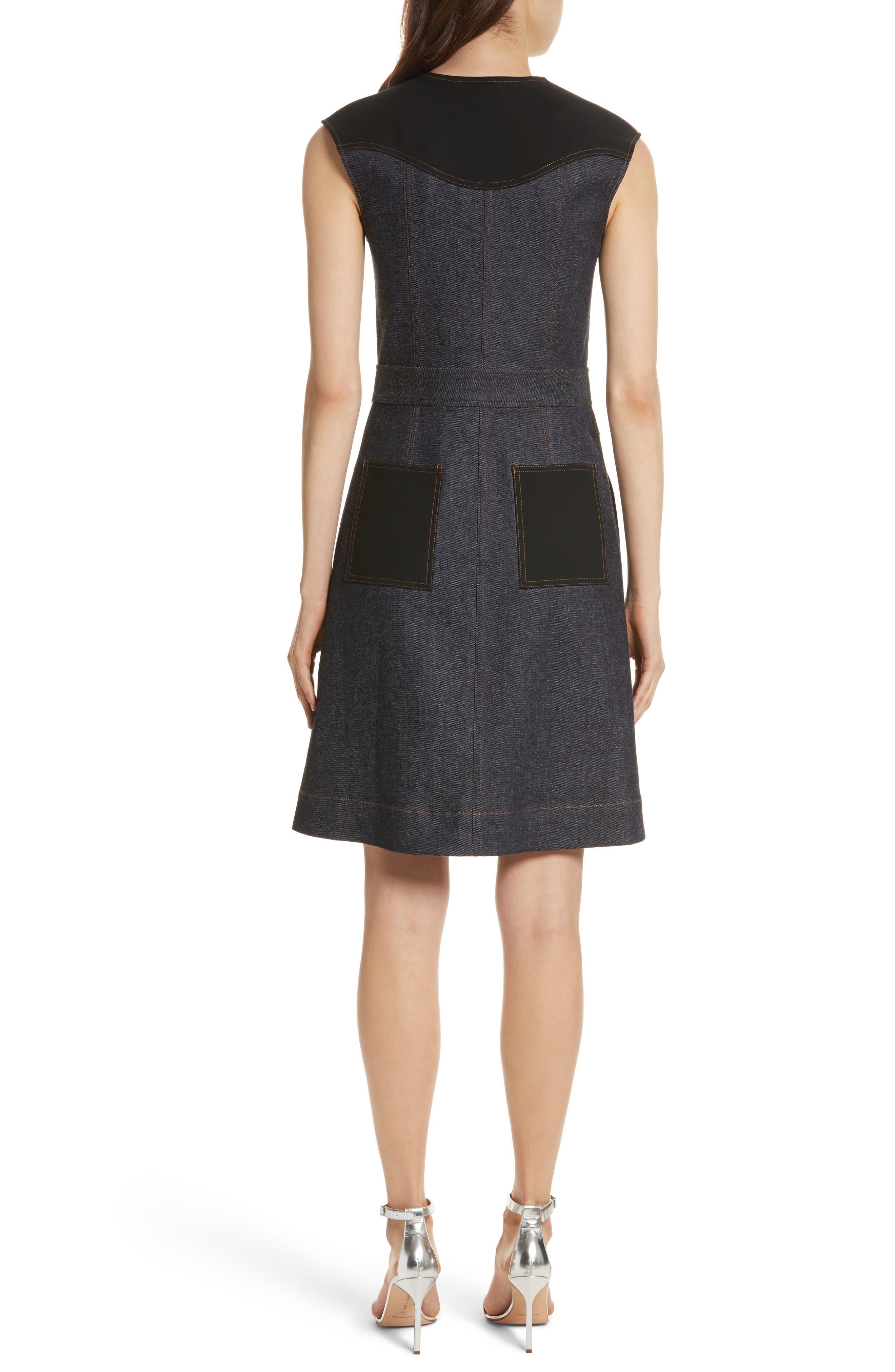 Diane von Furstenberg Front Zip Denim Dress,                             Alternate thumbnail 2, color,                             Indigo/ Black