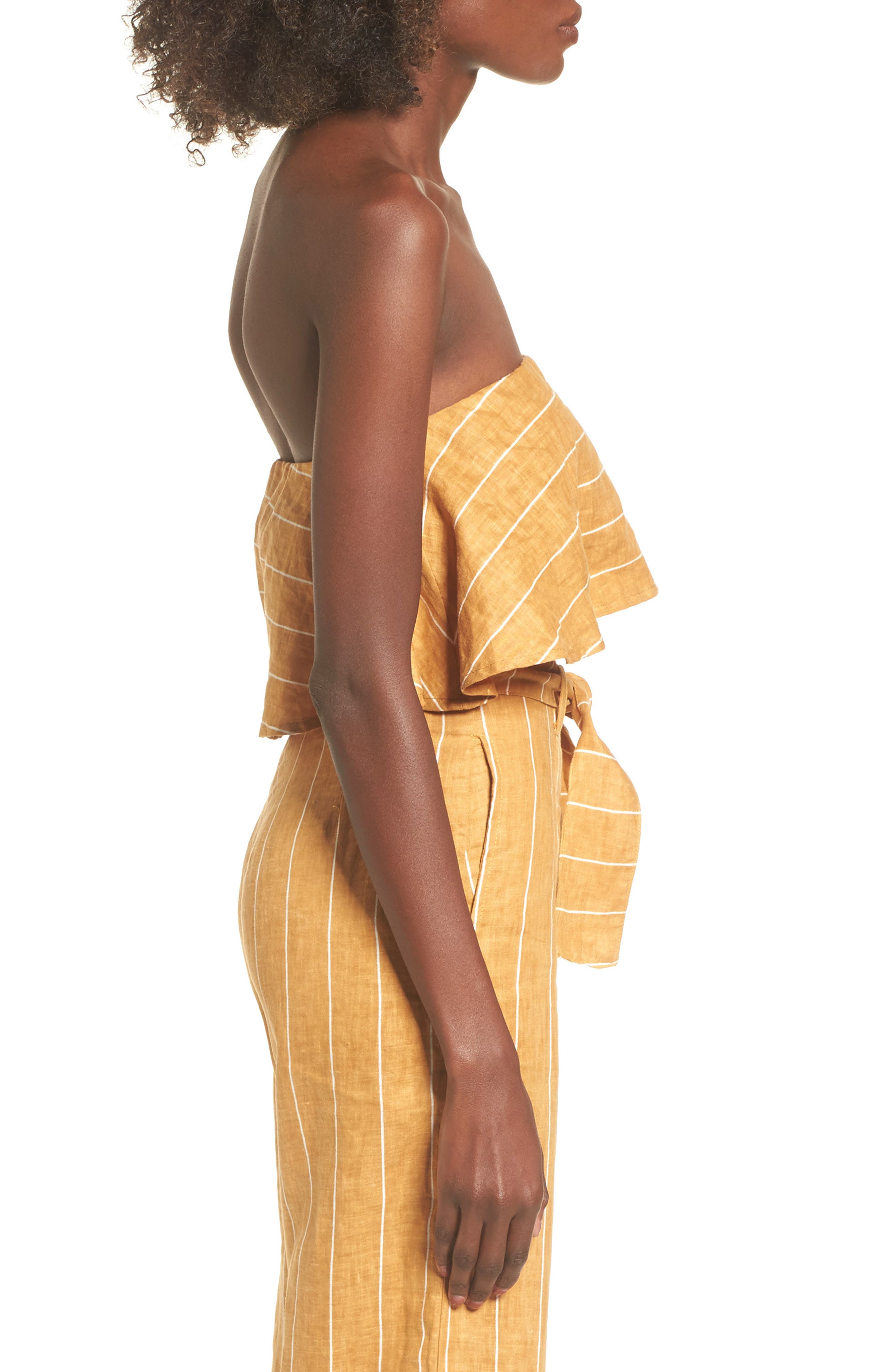 Solana Stripe Strapless Linen Crop Top,                             Alternate thumbnail 5, color,                             Copenhagen Stripe