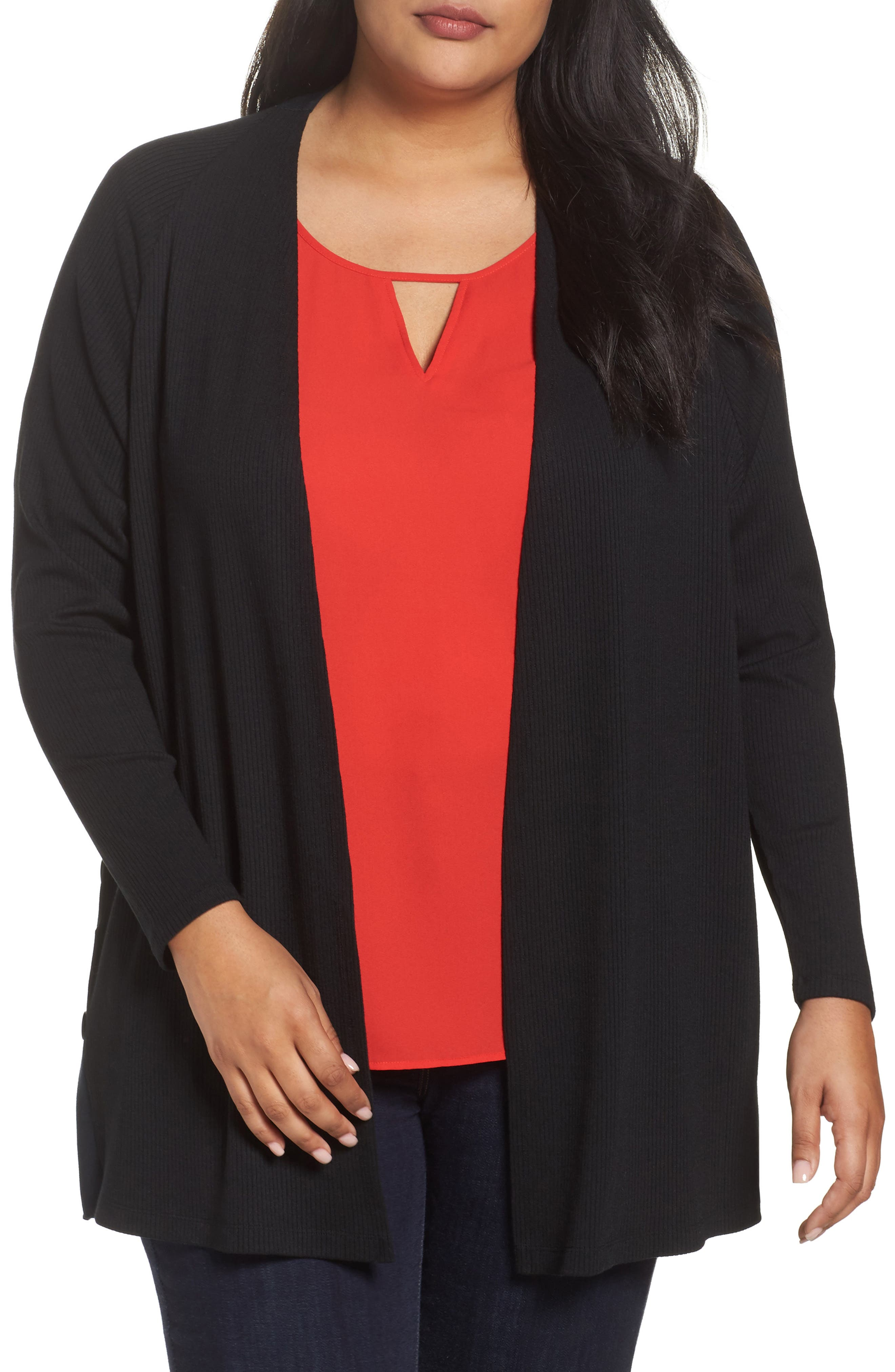 Easy Long Open Front Cardigan,                         Main,                         color, Black