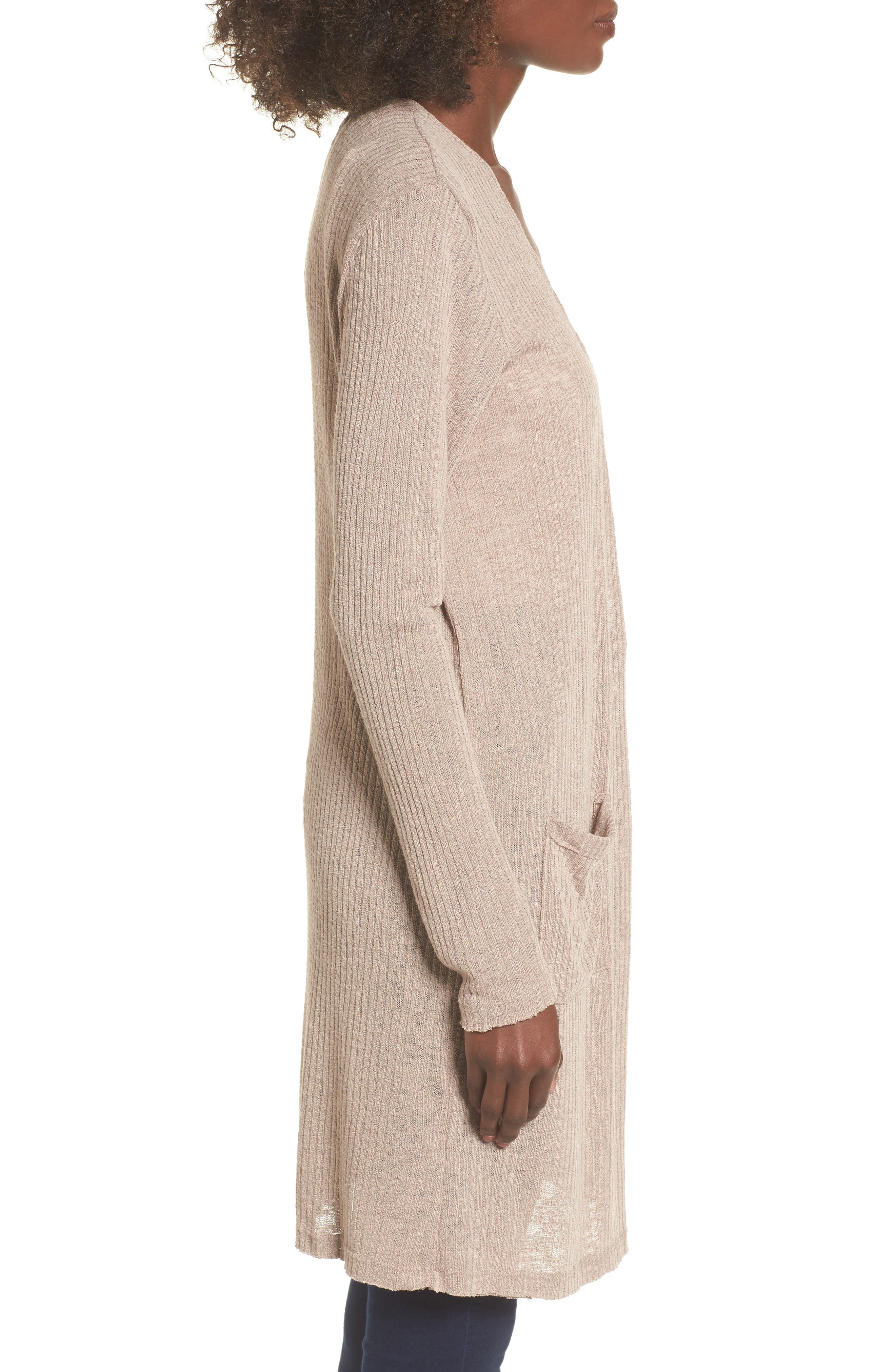 Ribbed Knit Cardigan,                             Alternate thumbnail 3, color,                             Beige Morn