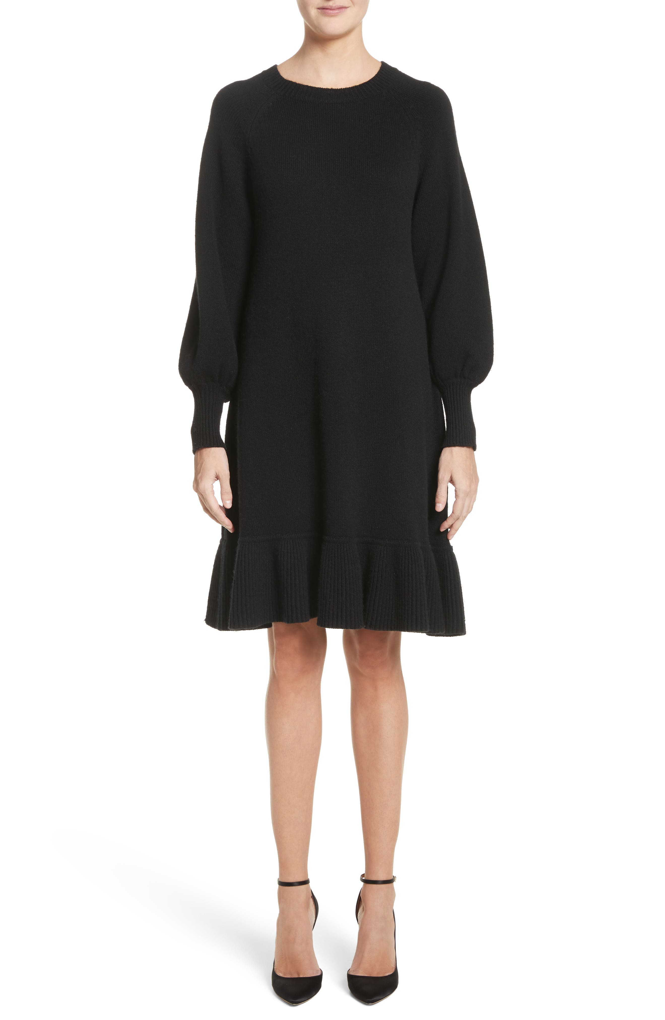 Ruffle Wool & Cashmere Sweater Dress,                         Main,                         color, Black