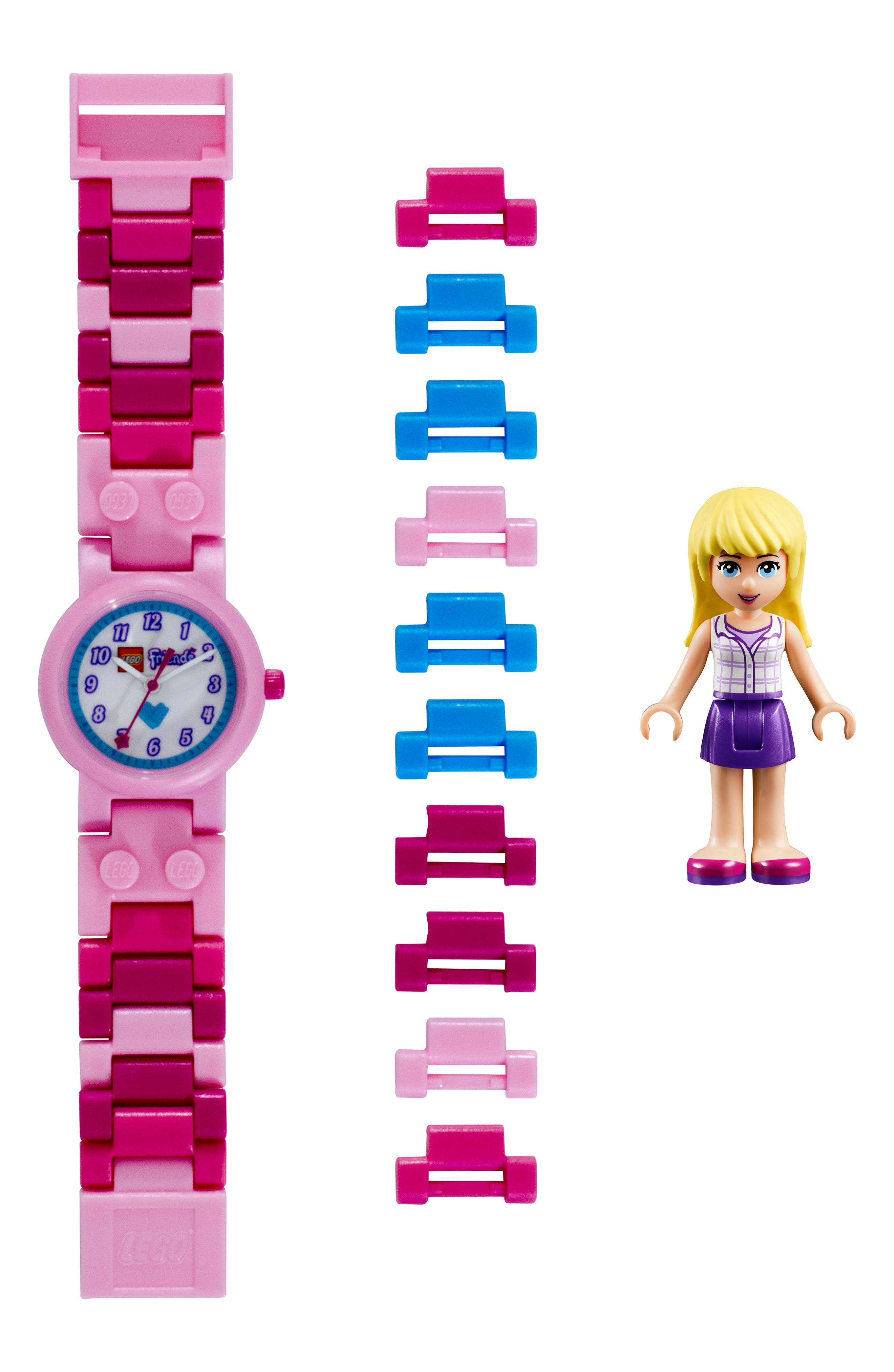 29-Piece LEGO Friends Stephanie Buildable Water-Resistant Watch & Figurine Set,                             Main thumbnail 1, color,                             Pink