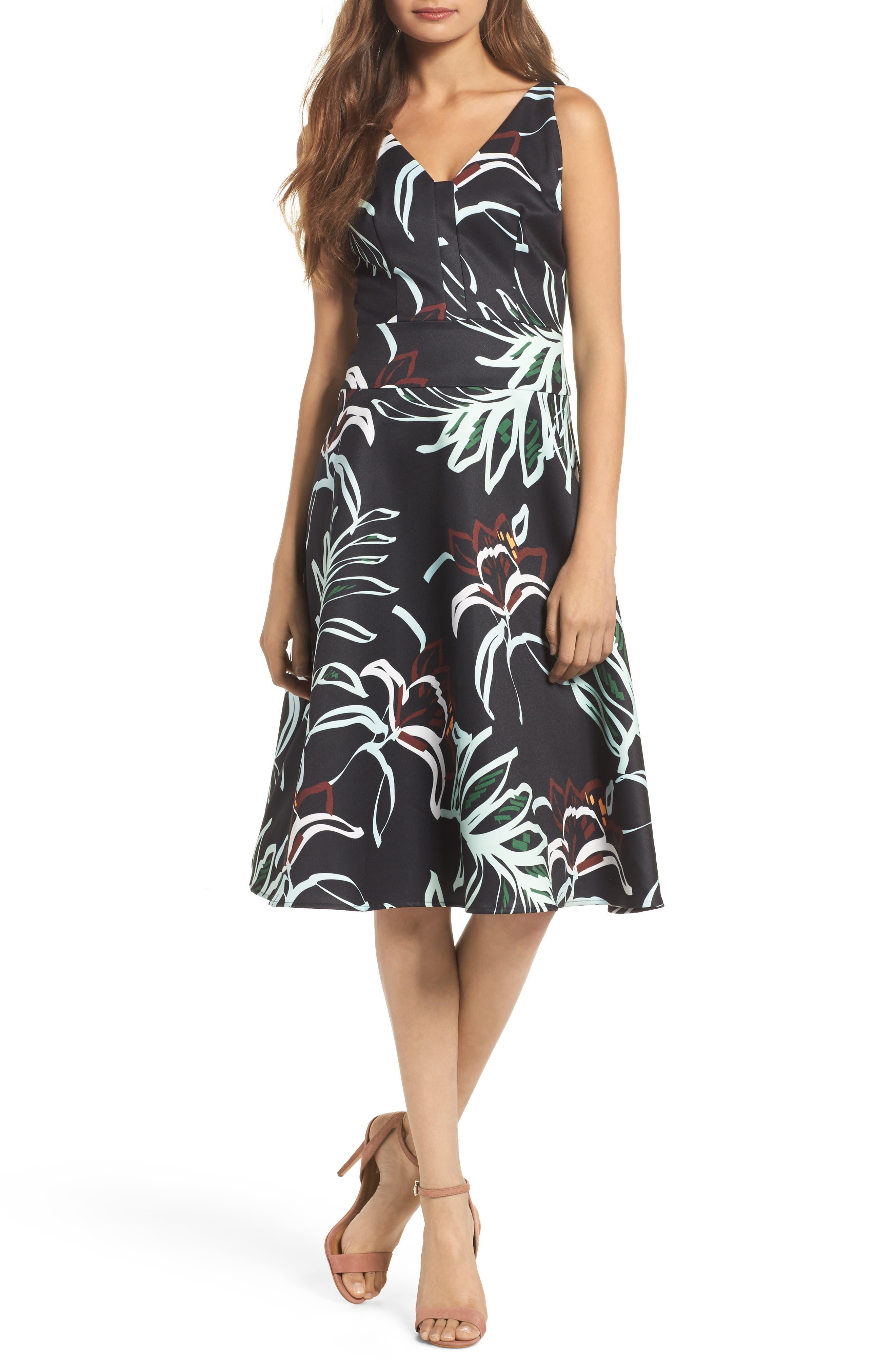 Rainforest Fit & Flare Dress,                             Main thumbnail 1, color,                             Print