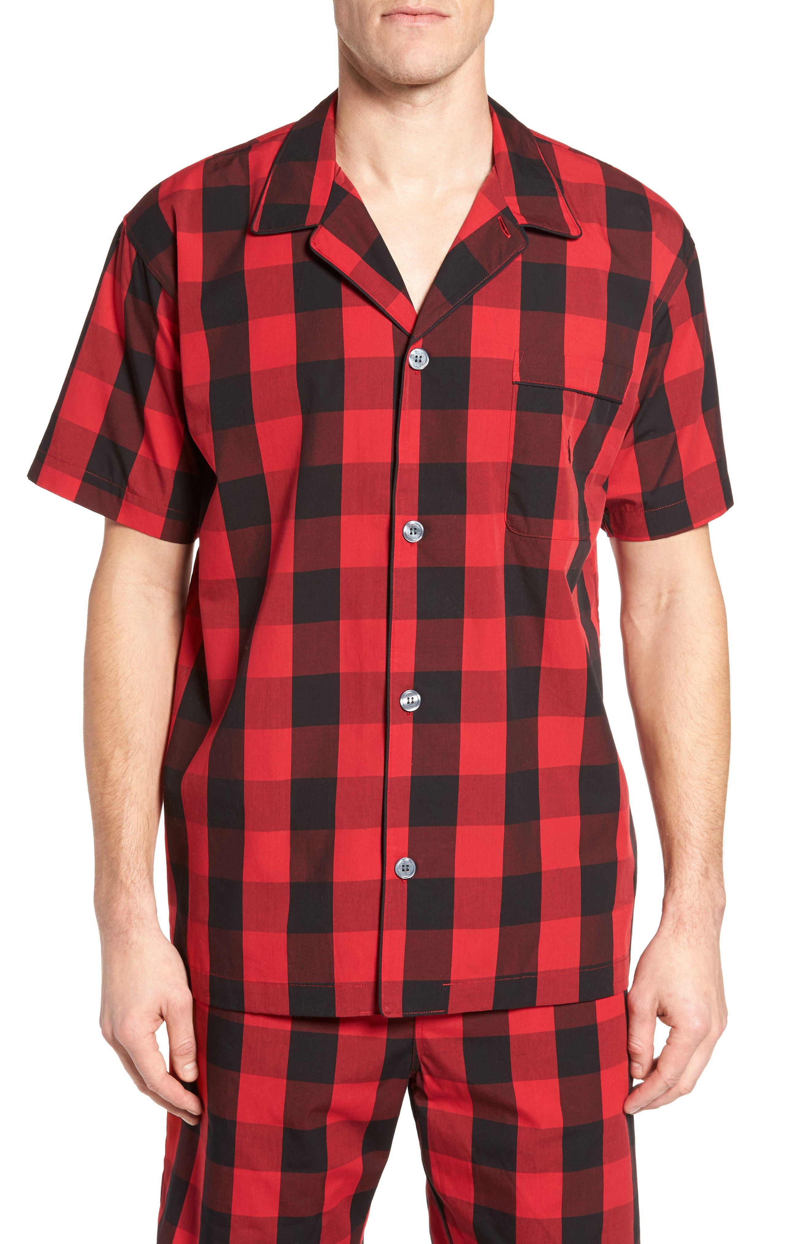 Cotton Pajama Shirt,                         Main,                         color, Montana Plaid/ Polo Black