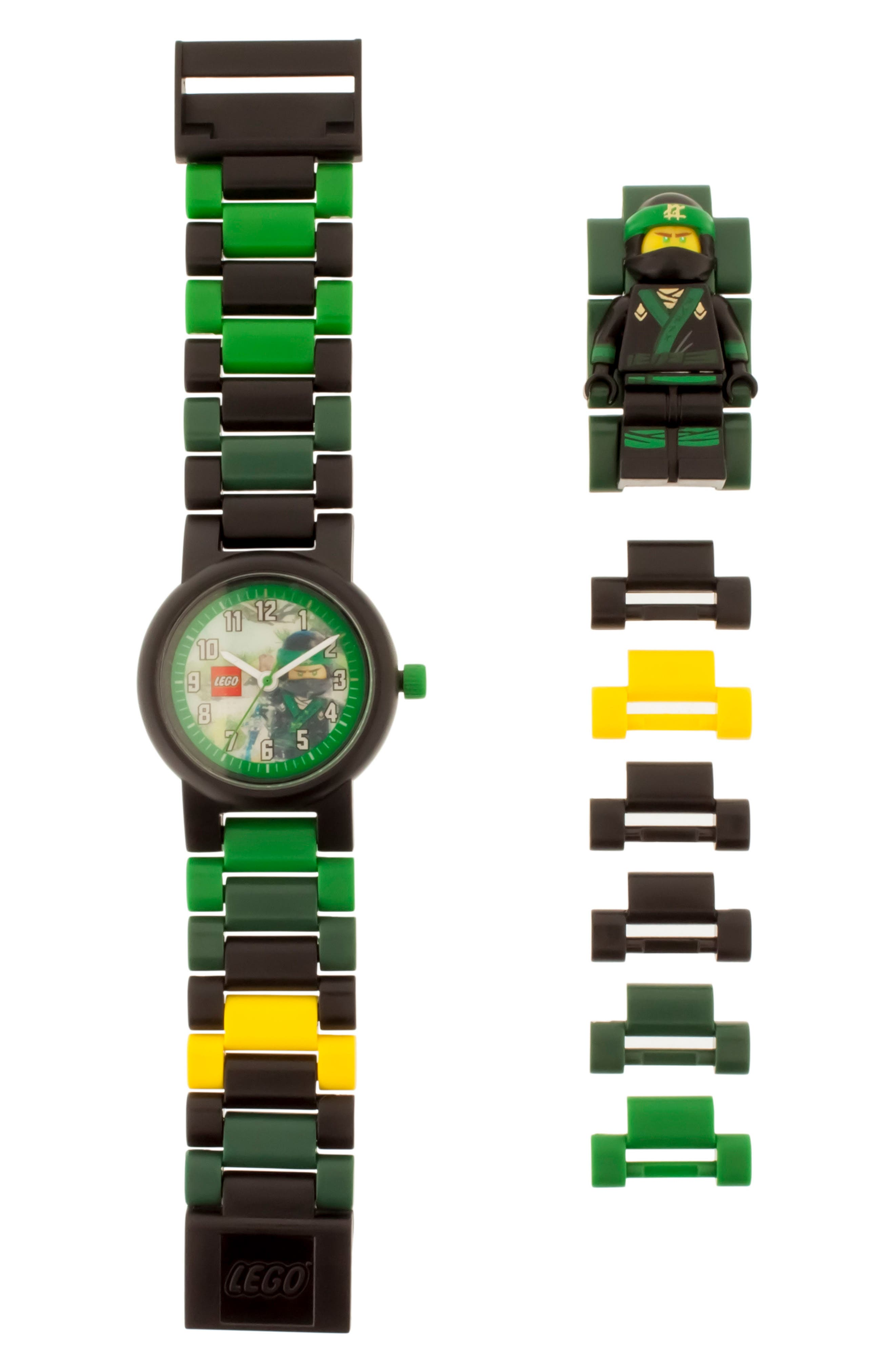 24-Piece Ninjago Lloyd Buildable Water-Resistant Watch,                             Main thumbnail 1, color,                             Black