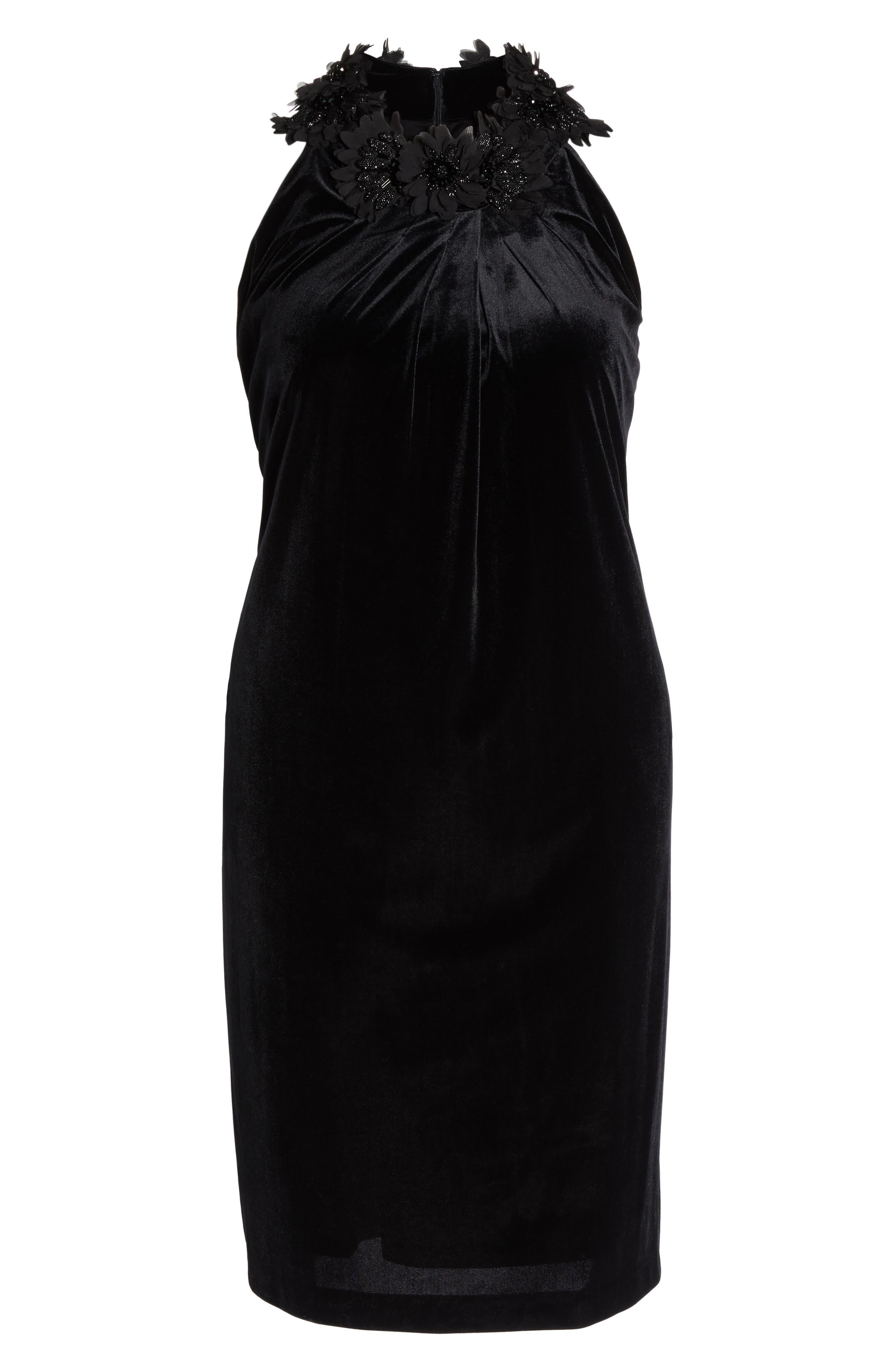 Embellished Velvet Shift Dress,                             Alternate thumbnail 6, color,                             Black