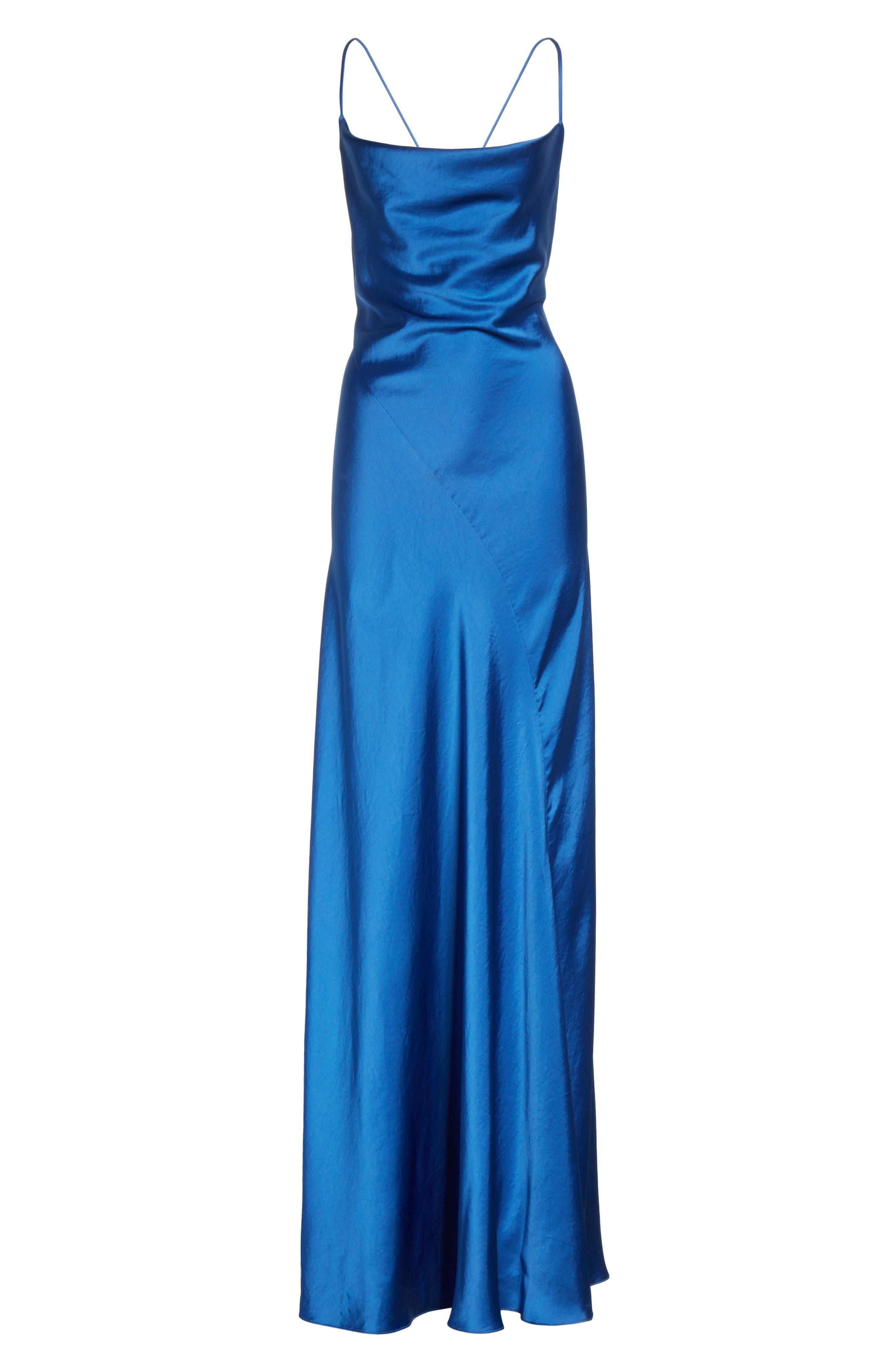 Diane von Furstenberg Open Back A-Line Gown,                             Alternate thumbnail 6, color,                             Cove