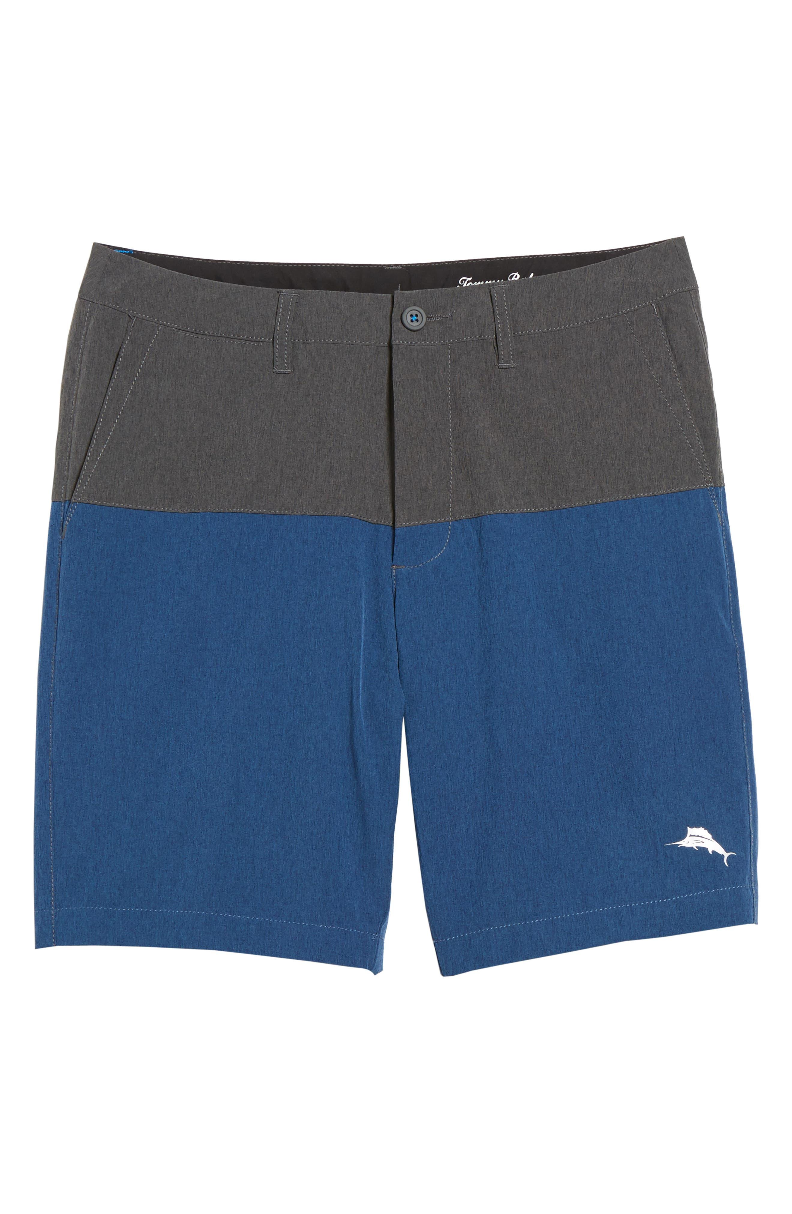 Cayman Block & Roll Hybrid Swim Shorts,                             Alternate thumbnail 6, color,                             Deep Marine