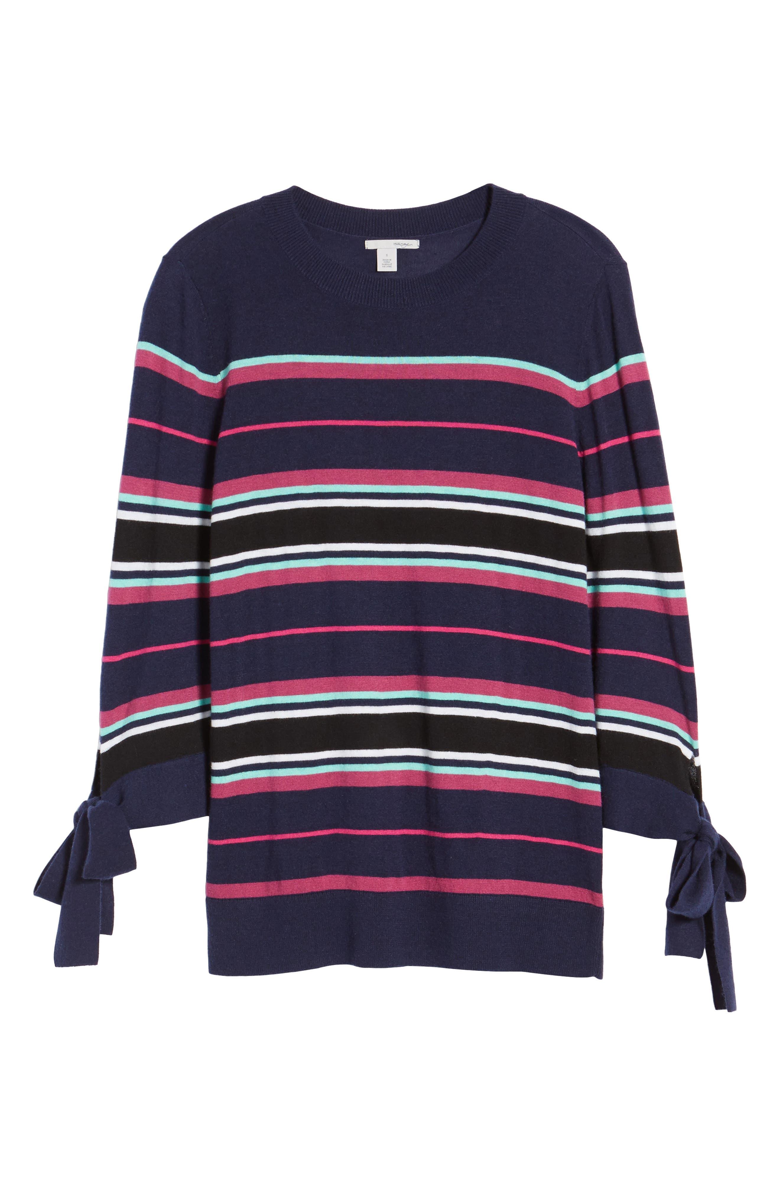 Tie Sleeve Crewneck Sweater,                             Alternate thumbnail 6, color,                             Navy/ Pink Multi Stripe