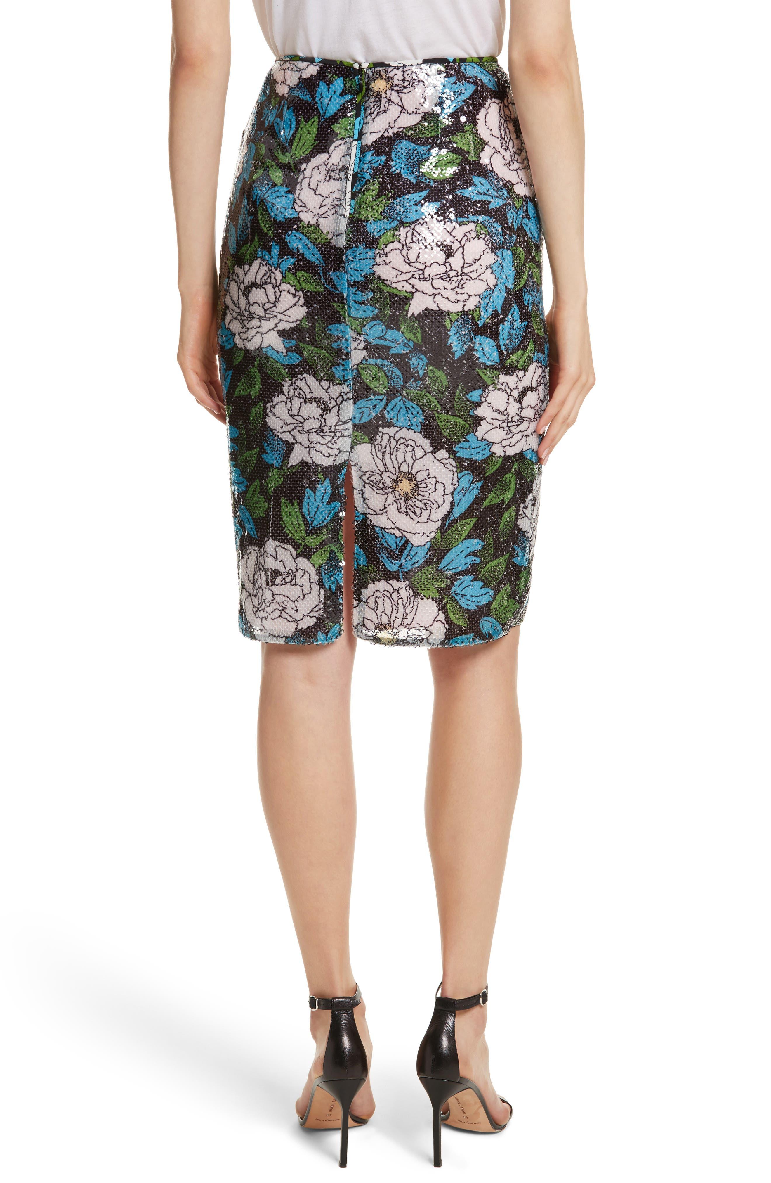 Diane von Furstenberg Sequin Pencil Skirt,                             Alternate thumbnail 2, color,                             Boswell Ivory