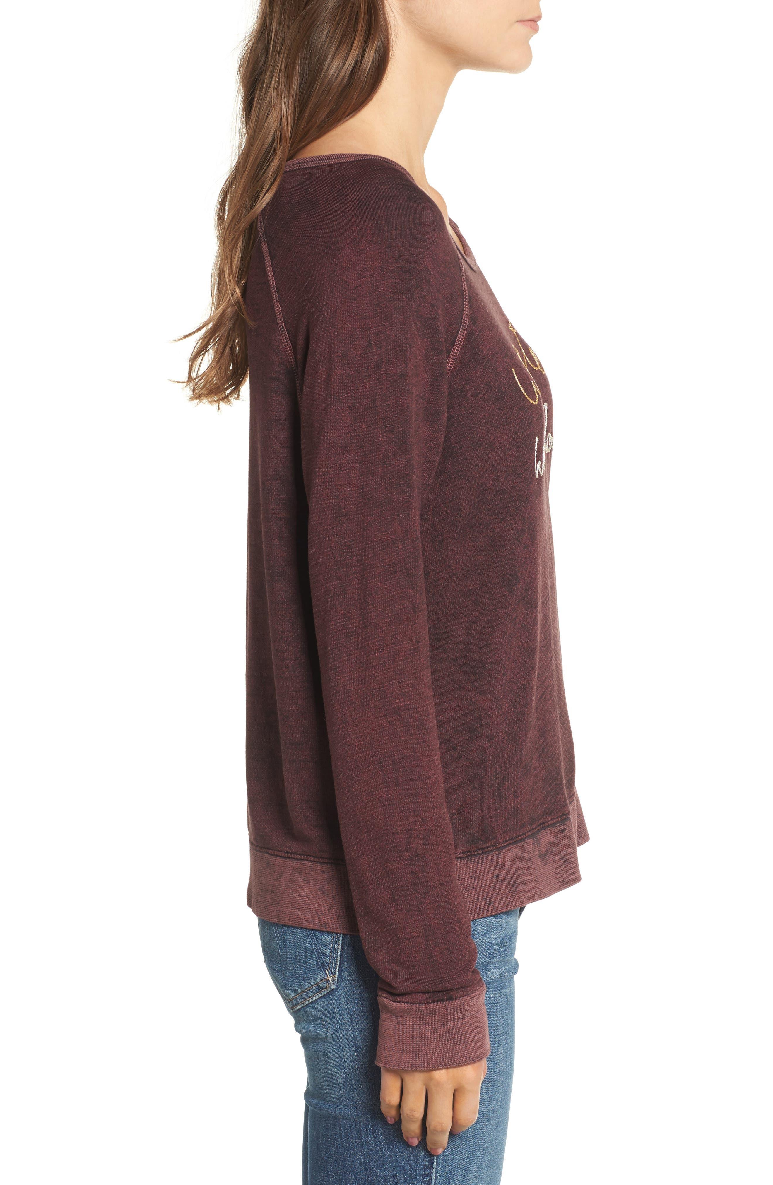 Active Winter Wonderland Sweatshirt,                             Alternate thumbnail 3, color,                             Burgundy Acid Wash