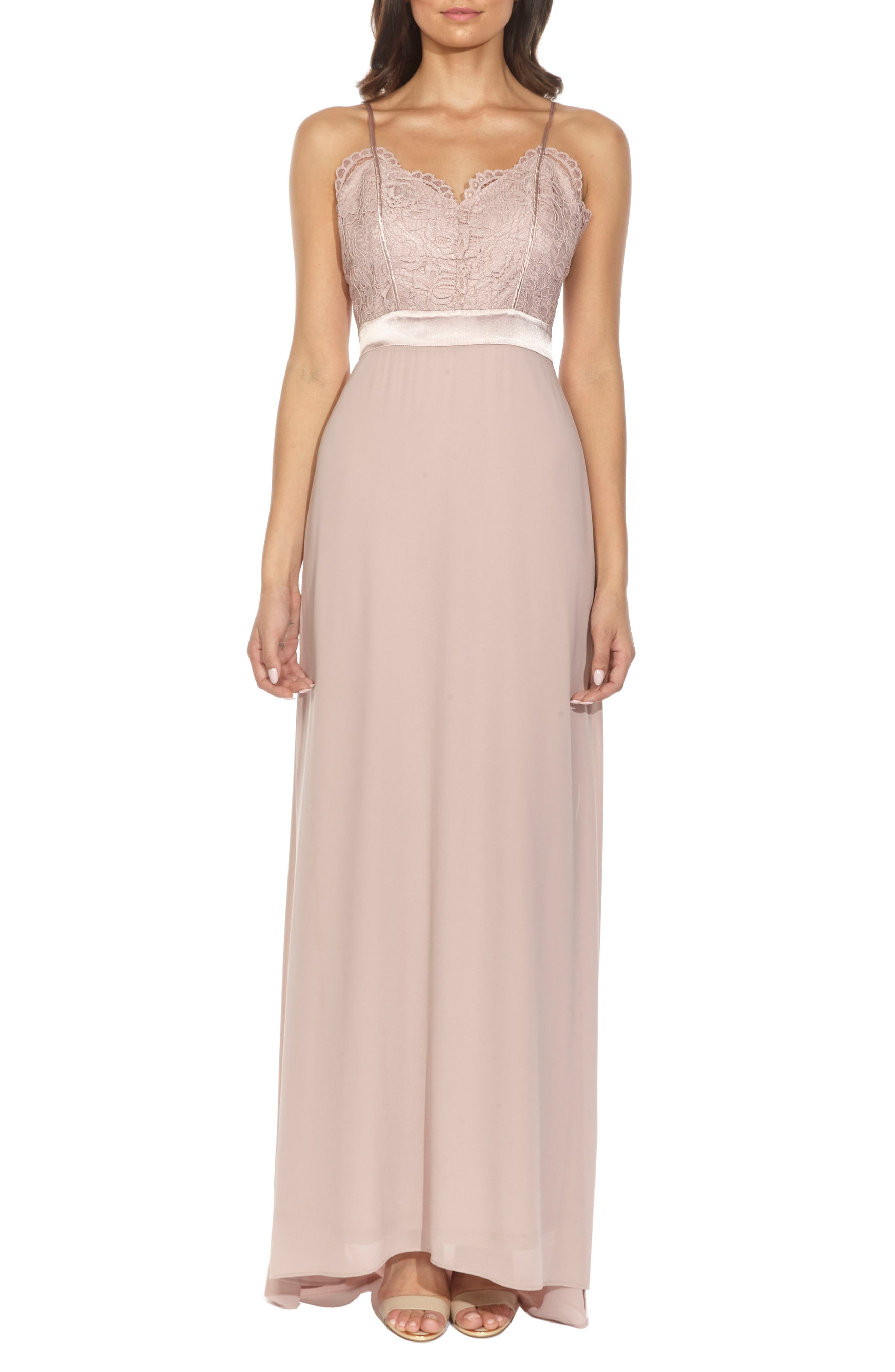 Cory Lace Bodice Gown,                         Main,                         color, Pale Mauve
